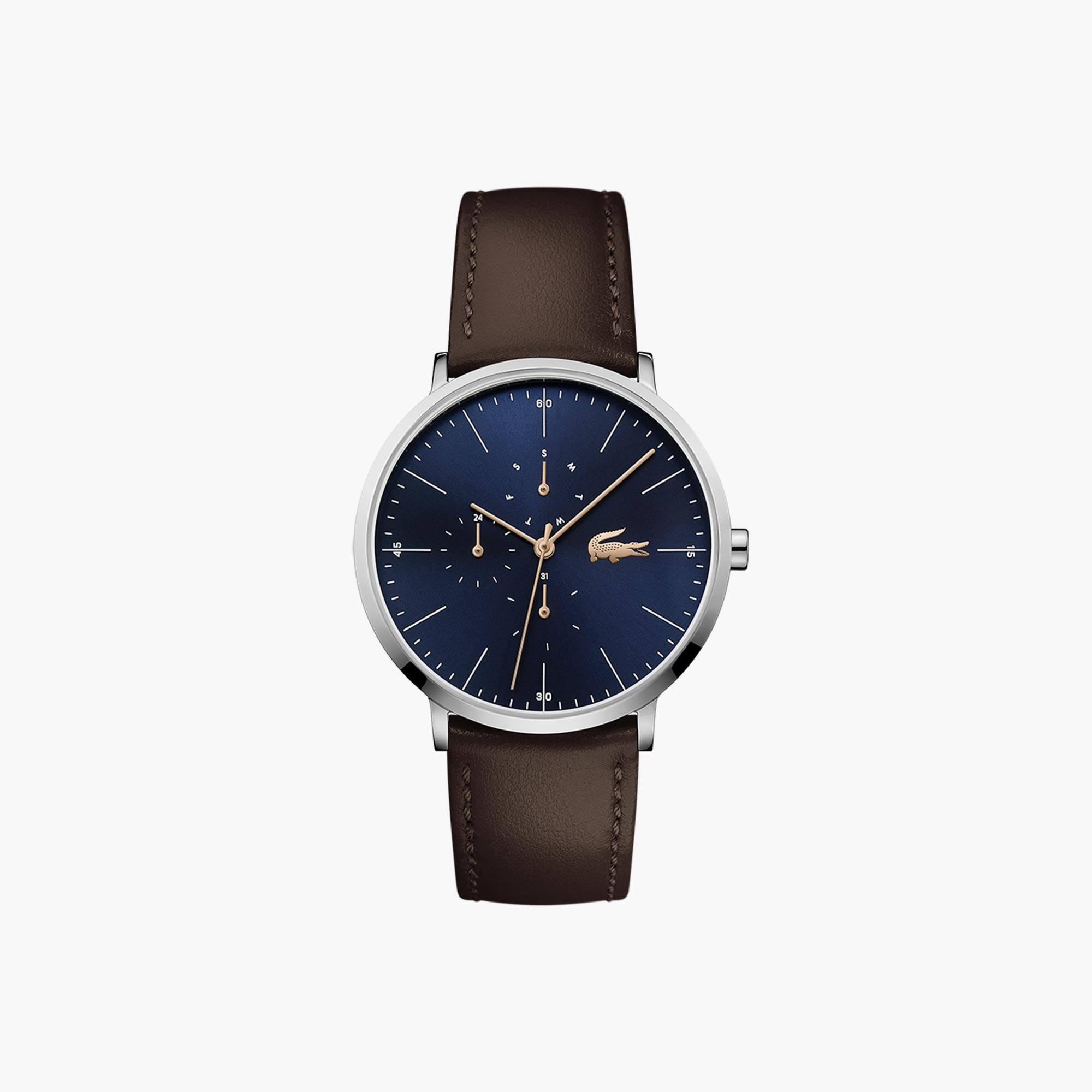 Reloj de Hombre Moon Multifunción Ultrafino con Correa de Piel Marrón