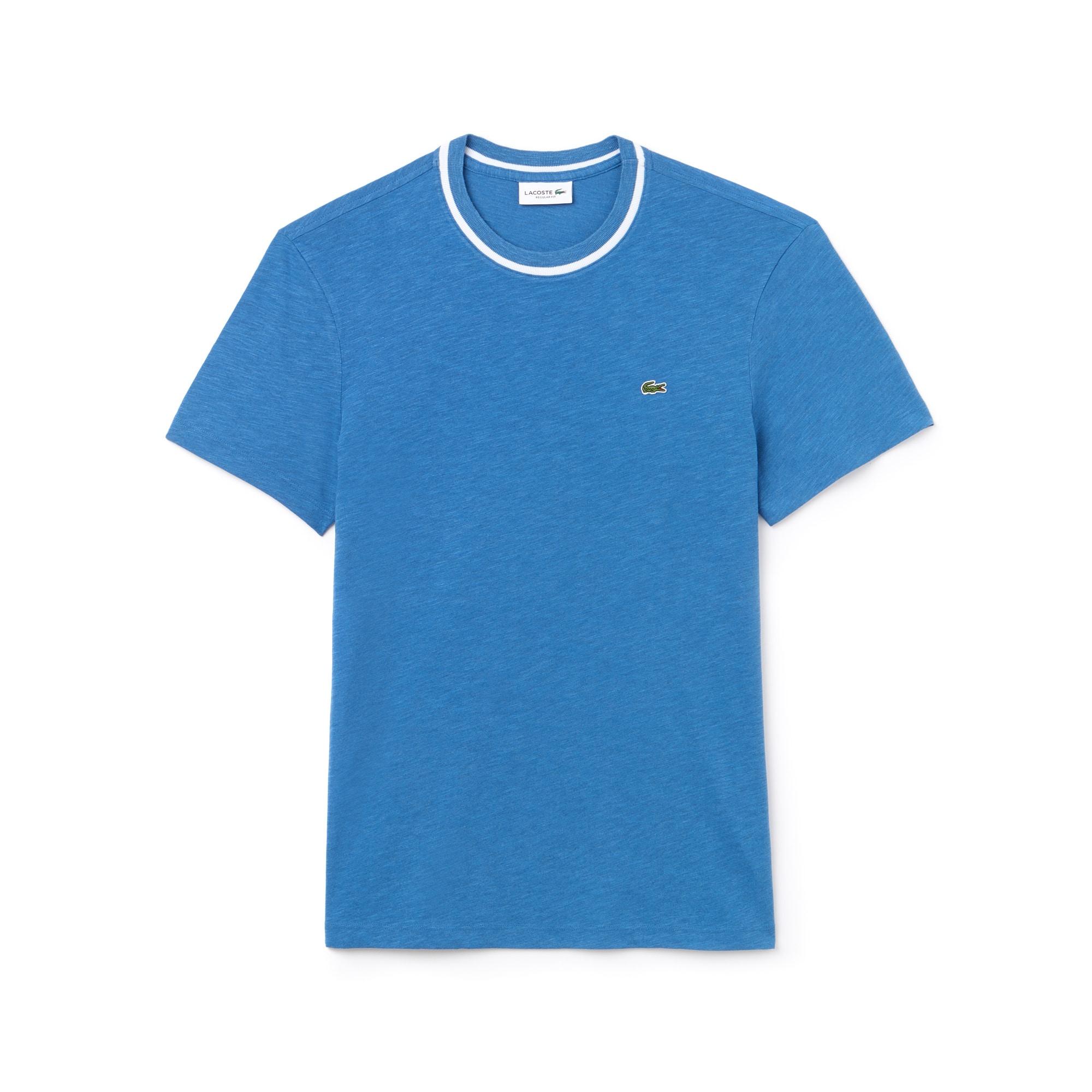 Camiseta De Cuello Redondo De Punto Liso De Algodón Flameado Liso