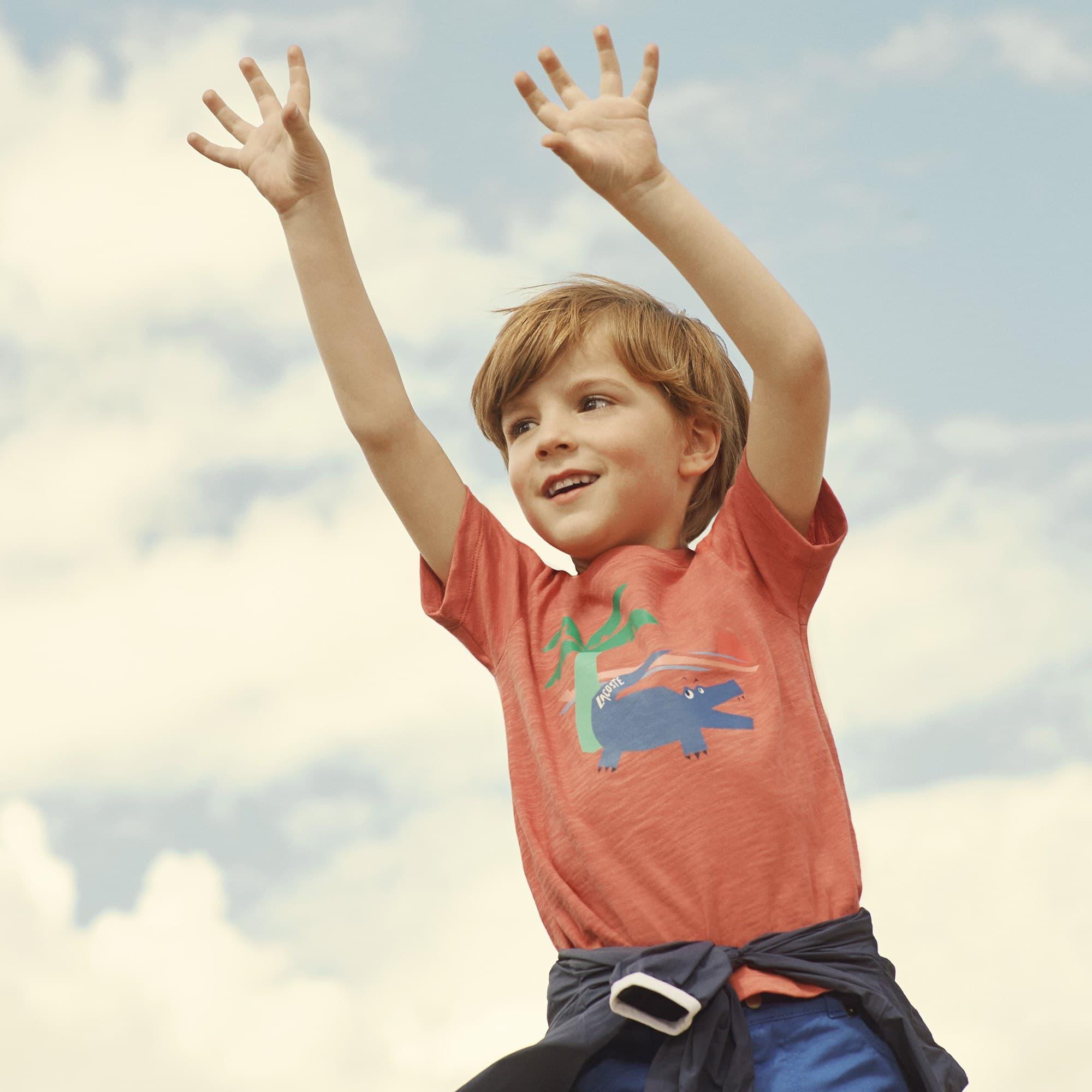 Camiseta De Punto Flameado Con Cuello Redondo Para Niño Con Estampado De Cocodrilo