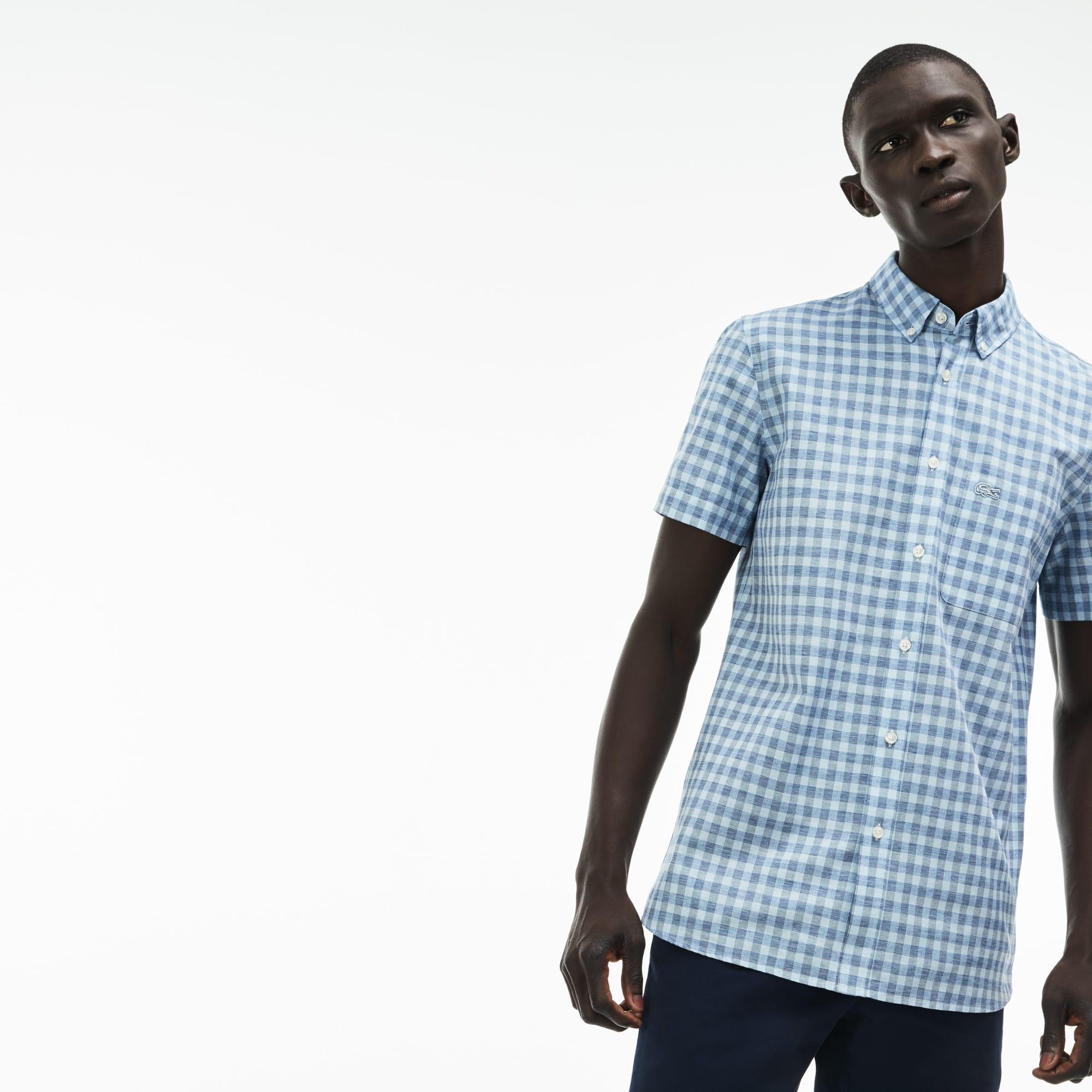Camisa Hombre Popelín De Cuadros Slim Fit