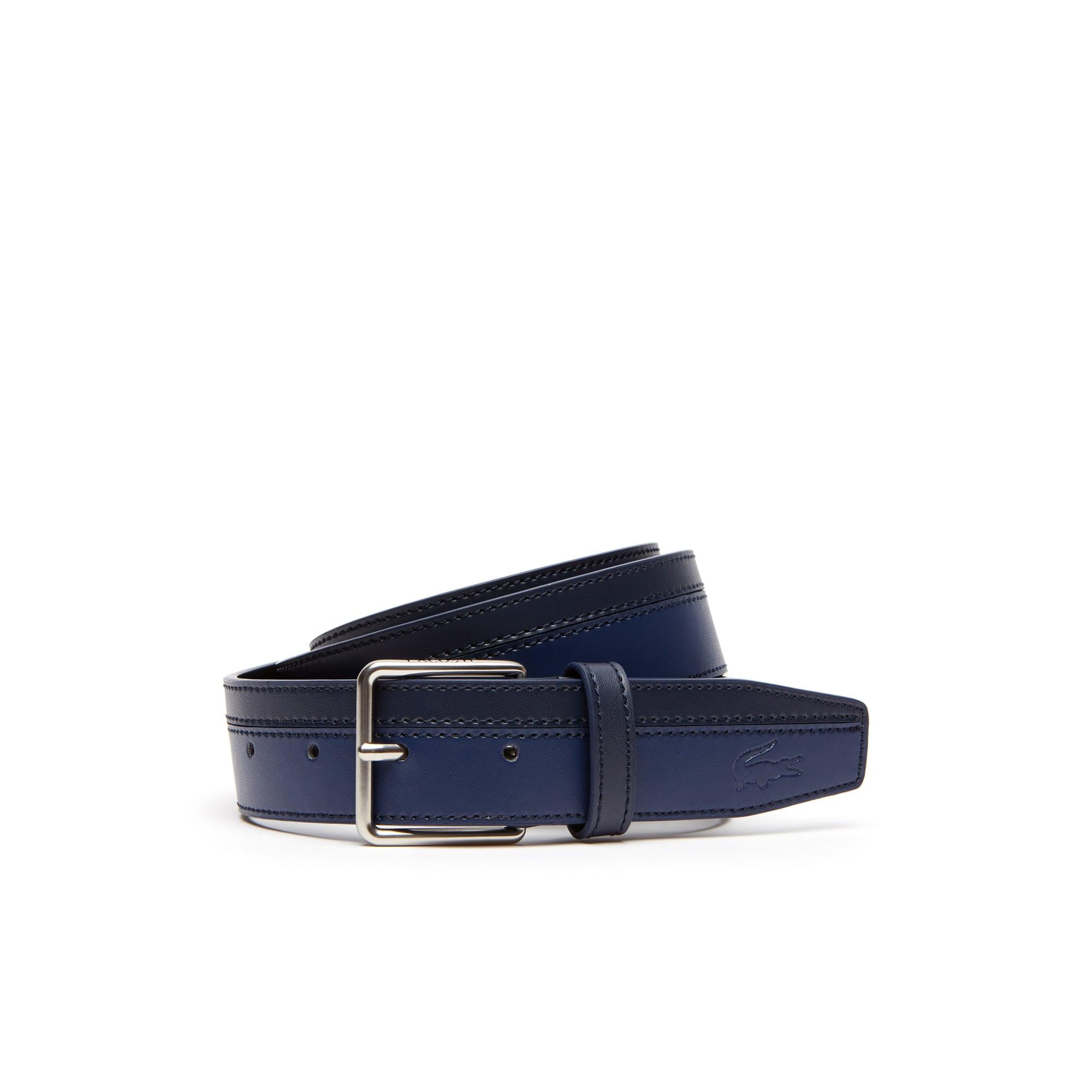 Cinturón de cuero con hebilla de lengüeta grabada Lacoste bicolor