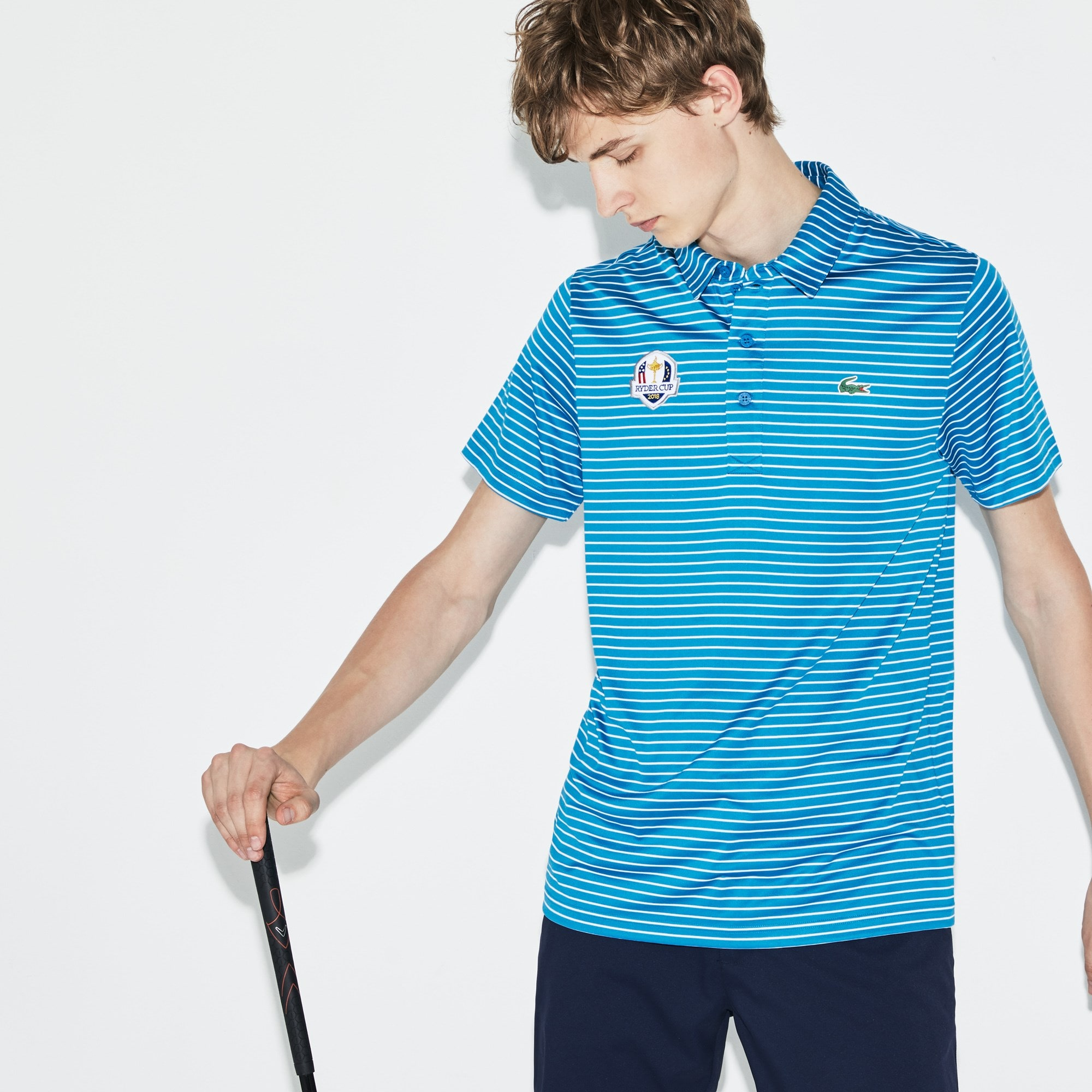 Polo Golf Lacoste SPORT de punto jersey elástico de rayas Edición Ryder Cup
