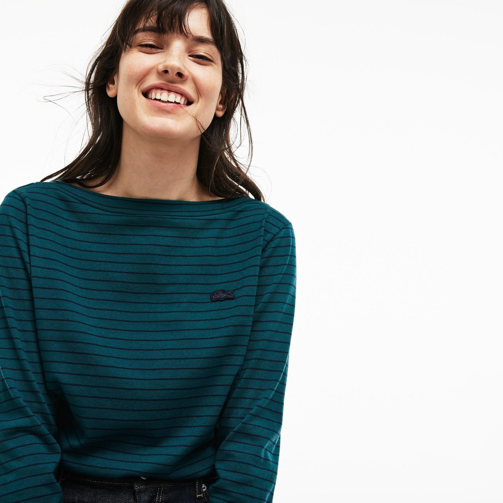 Camiseta De Mujer Náutica En Tejido De Punto De Algodón De Rayas Con Cuello Barco