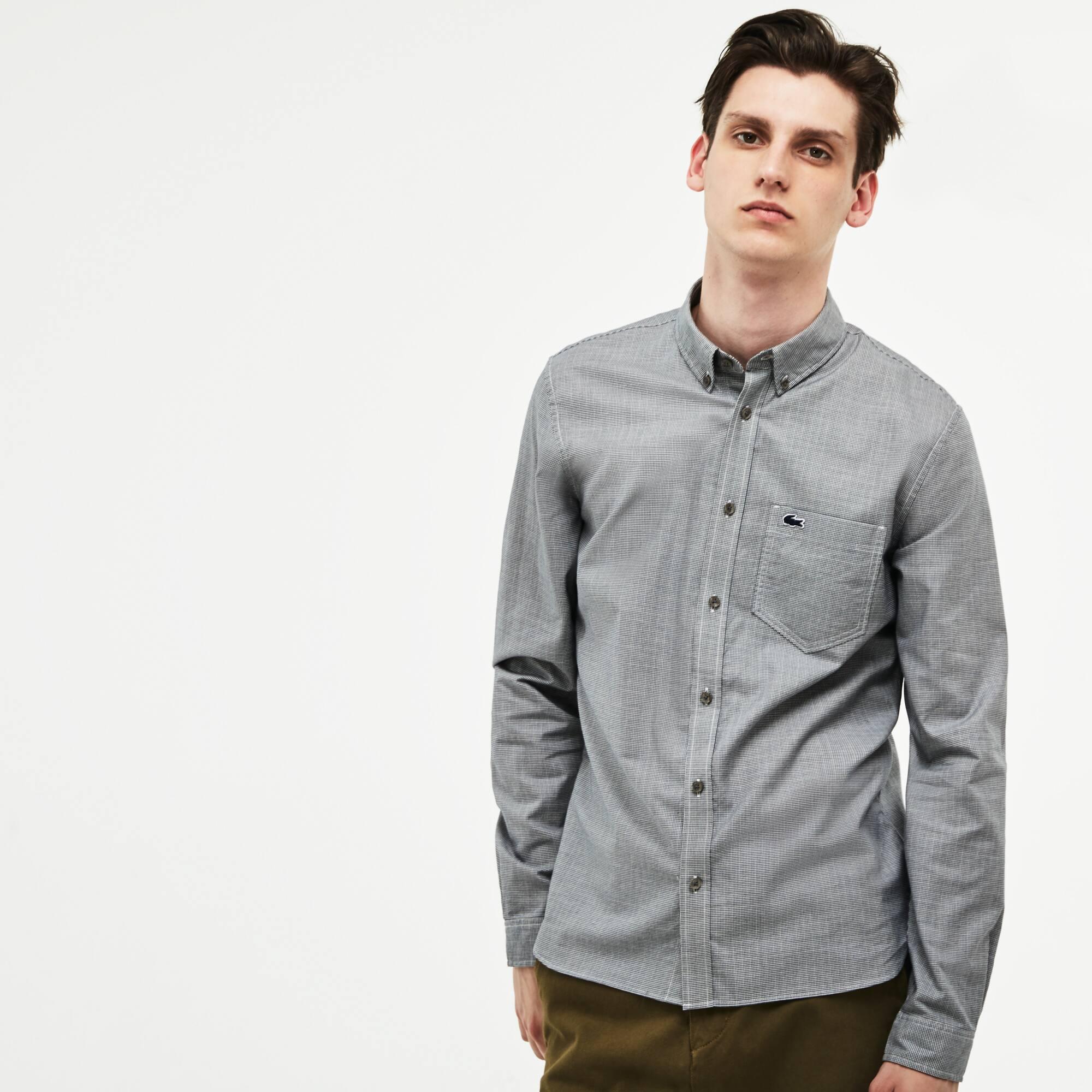 Camisa De Hombre Slim Fit En Popelín Con Estampado De Pata De Gallo