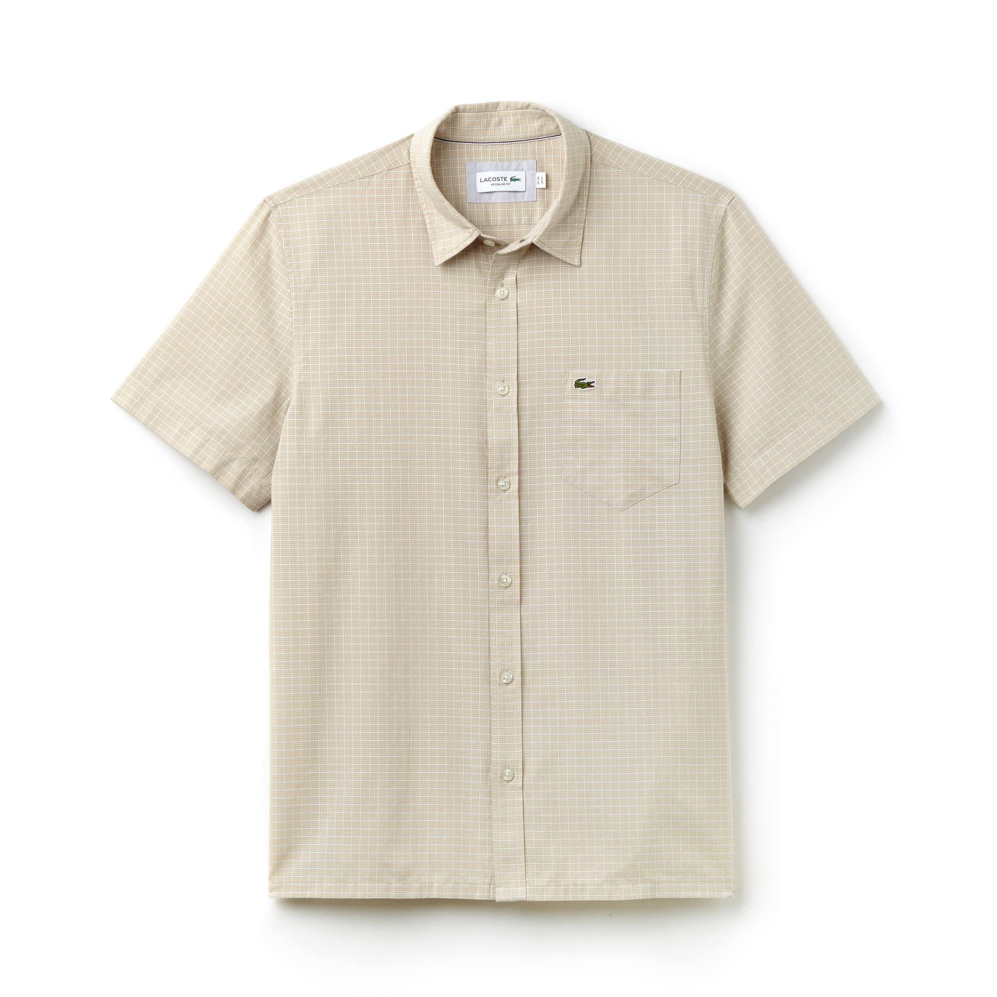 Camisa regular fit de popelín de cuadros con manga corta