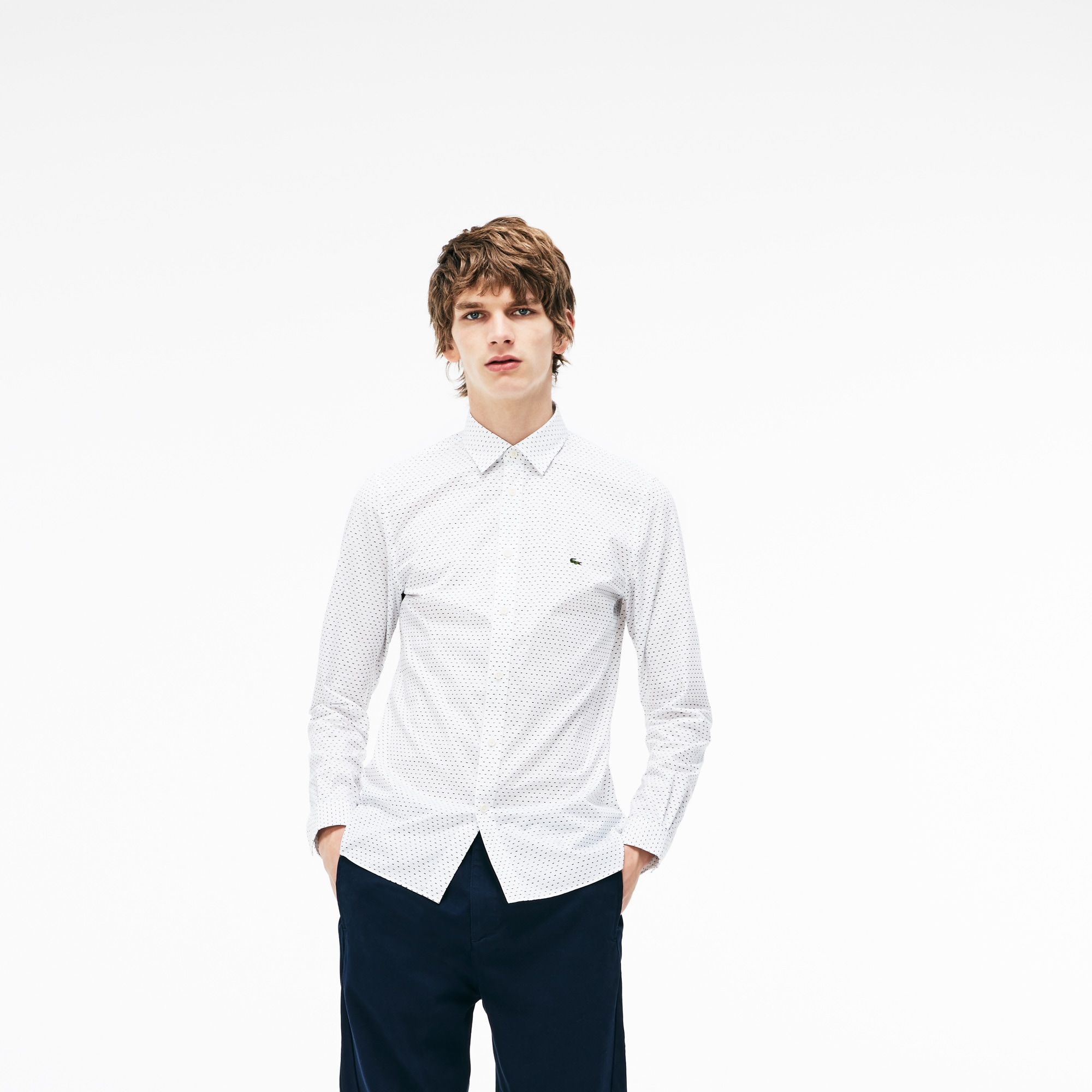 Camisa De Hombre Lacoste Motion Slim Fit En Popelín Estampado