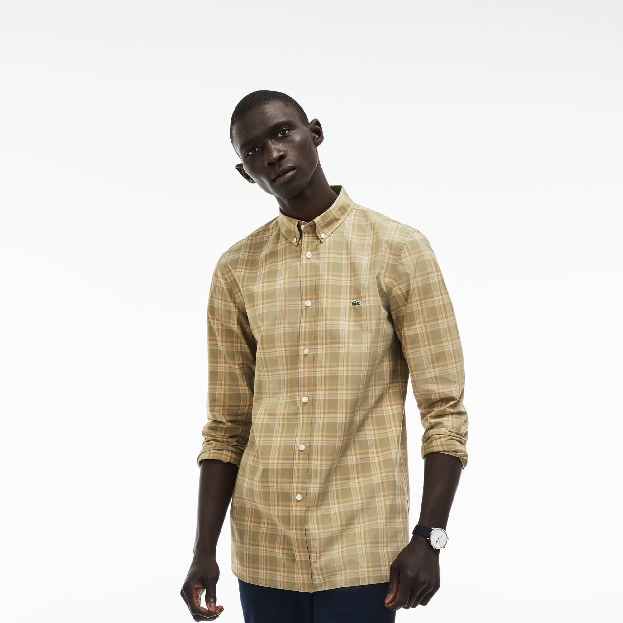 Camisa Hombre Popelín Algodón De Cuadros Slim Fit