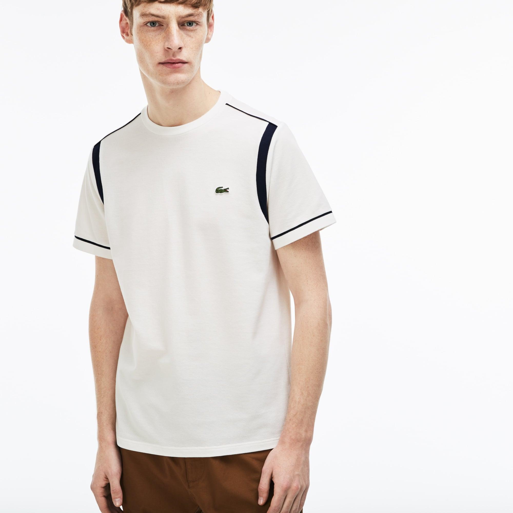 Camiseta con cuello redondo de punto cuadrado de algodón con franjas contrastantes