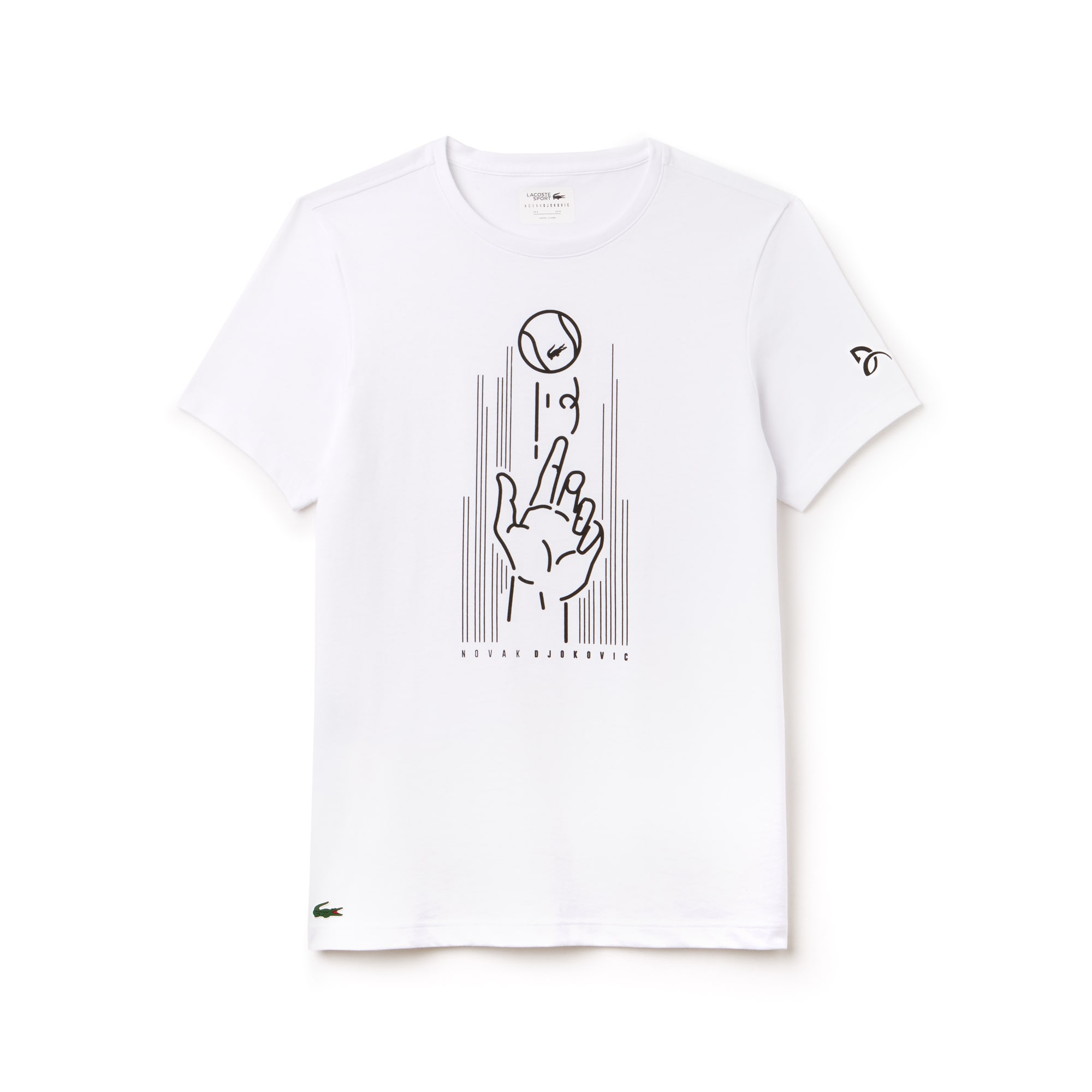 Camiseta De Hombre Lacoste SPORT Novak Djokovic Support With Style -Off Court Collection En Tejido De Punto Técnico Estampado Con Cuello Redondo