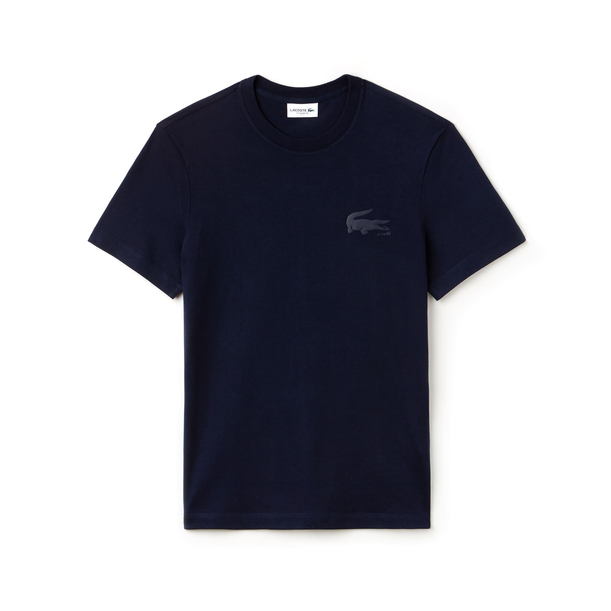 Camiseta de cuello redondo de punto jersey de algodón liso con marcado cocodrilo