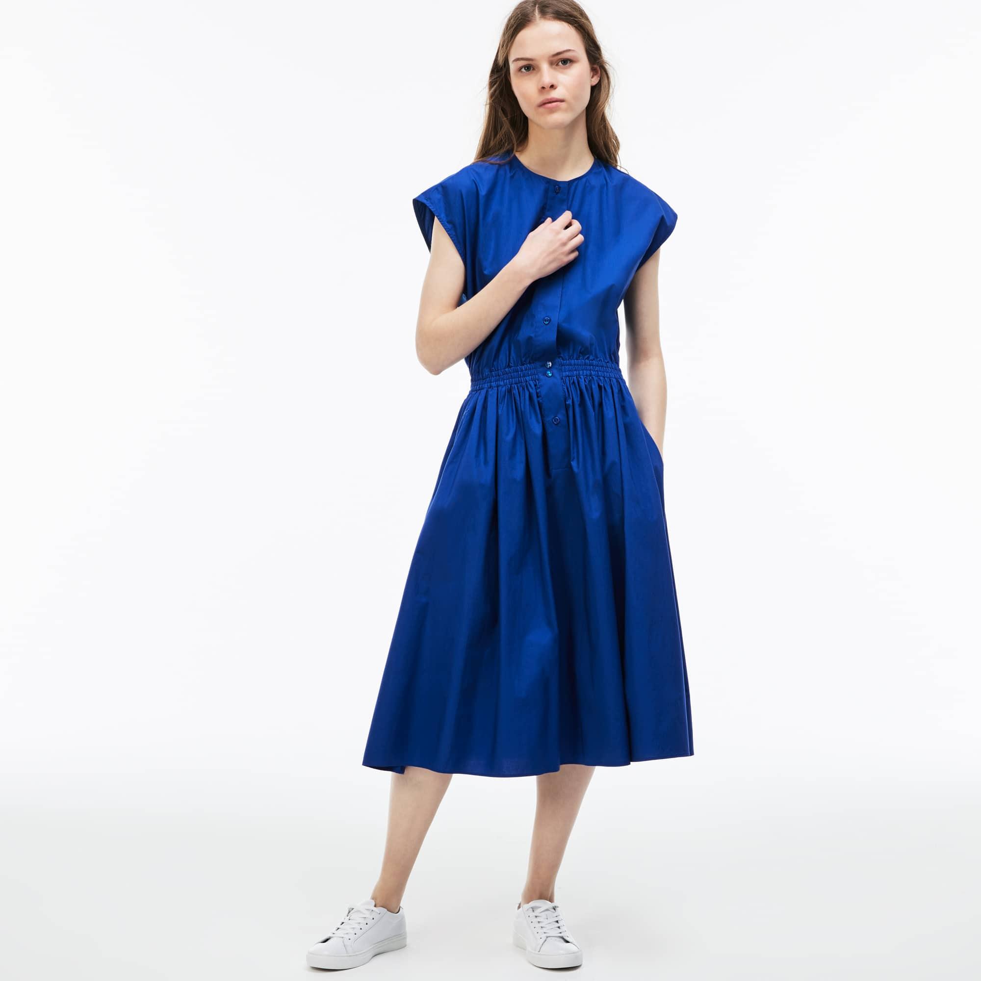 Vestido entallado de popelín de algodón liso