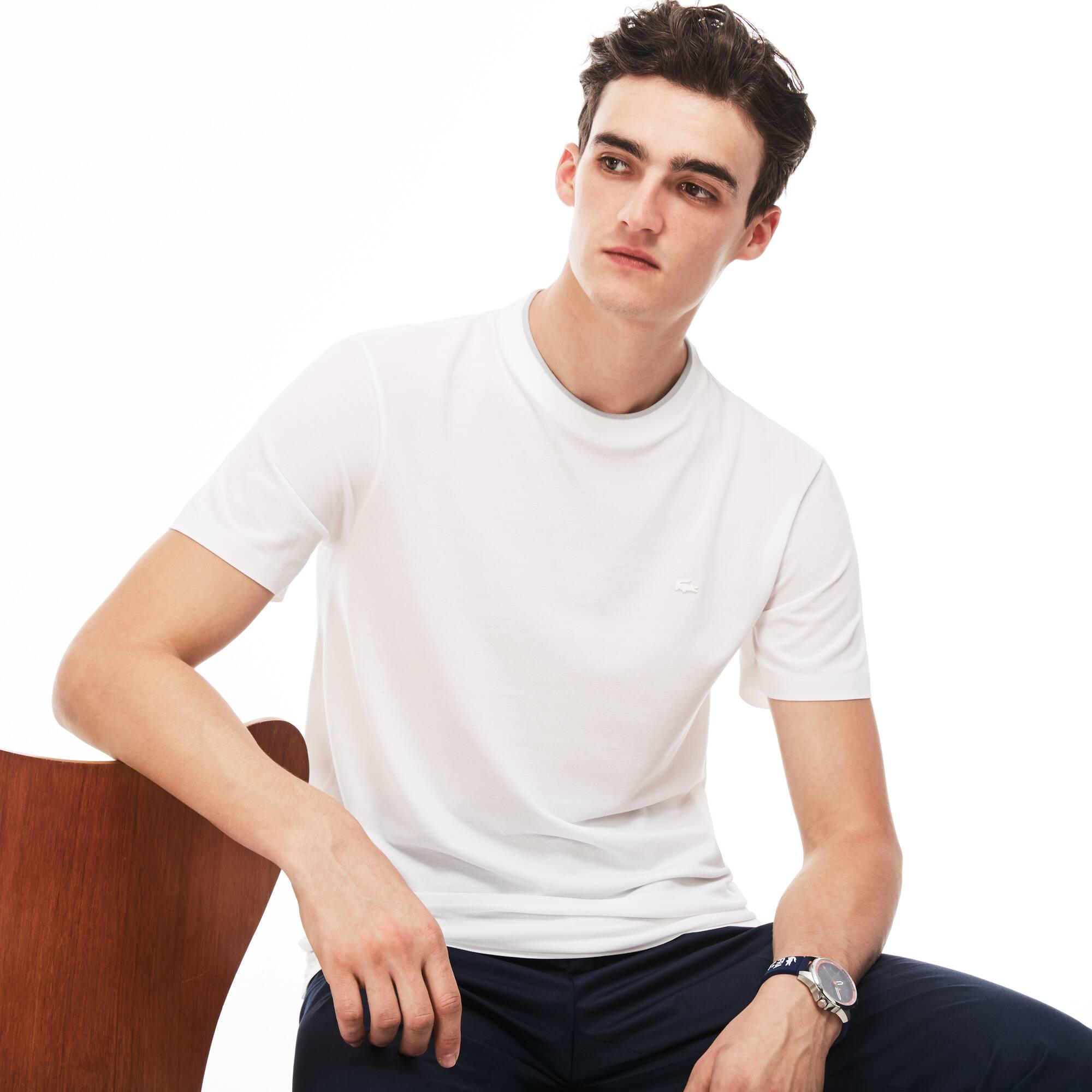 Camiseta de cuello redondo Lacoste MOTION de punto de piqué de algodón Pima liso