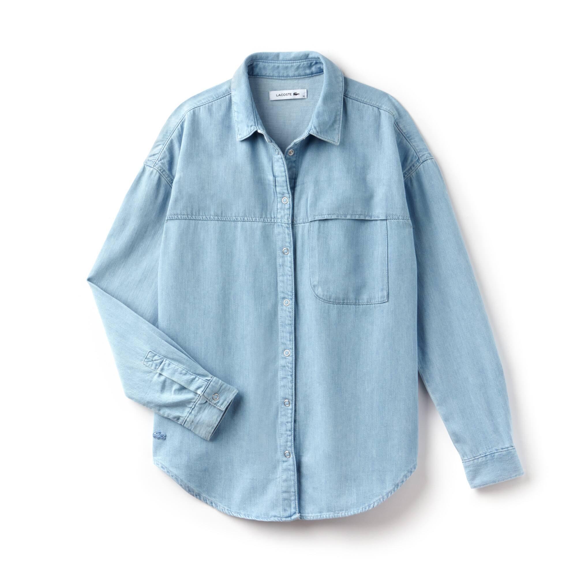 Camisa regular fit en denim de algodón