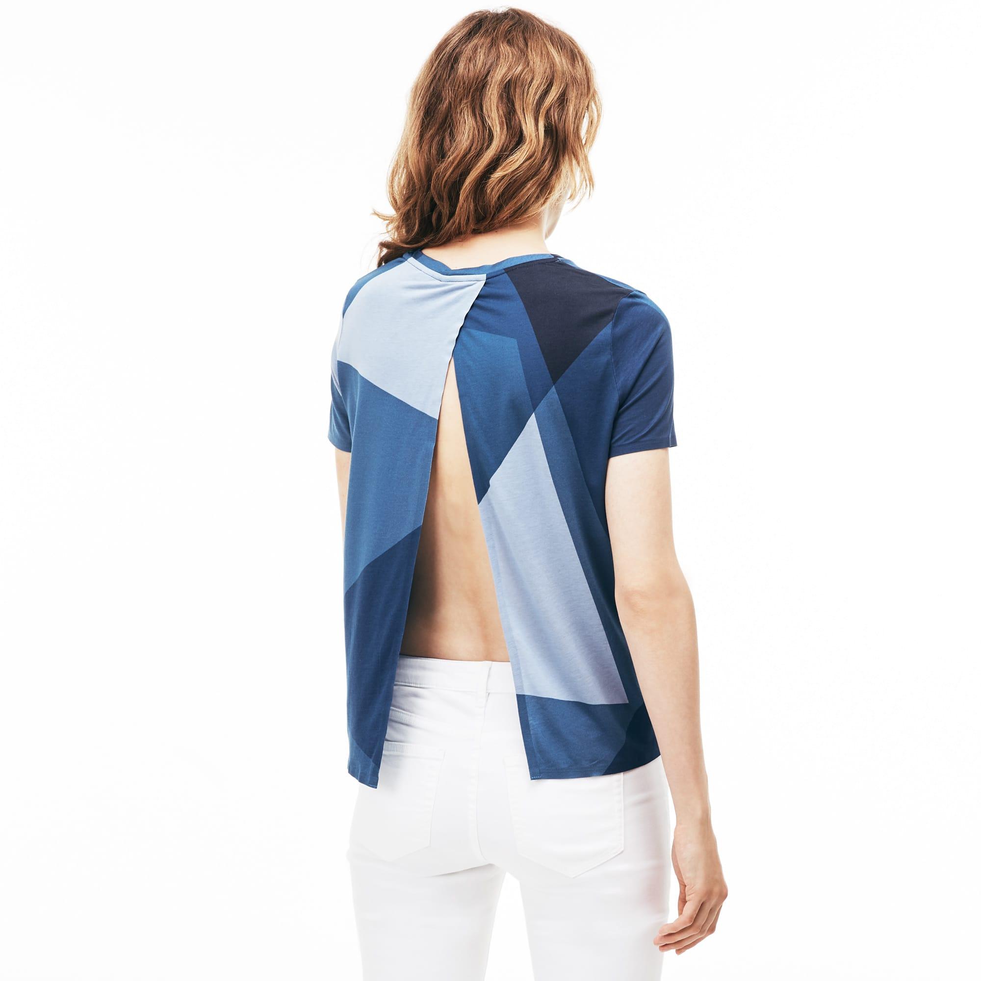 Camiseta con cuello redondo de punto jersey estampado con espalda abierta