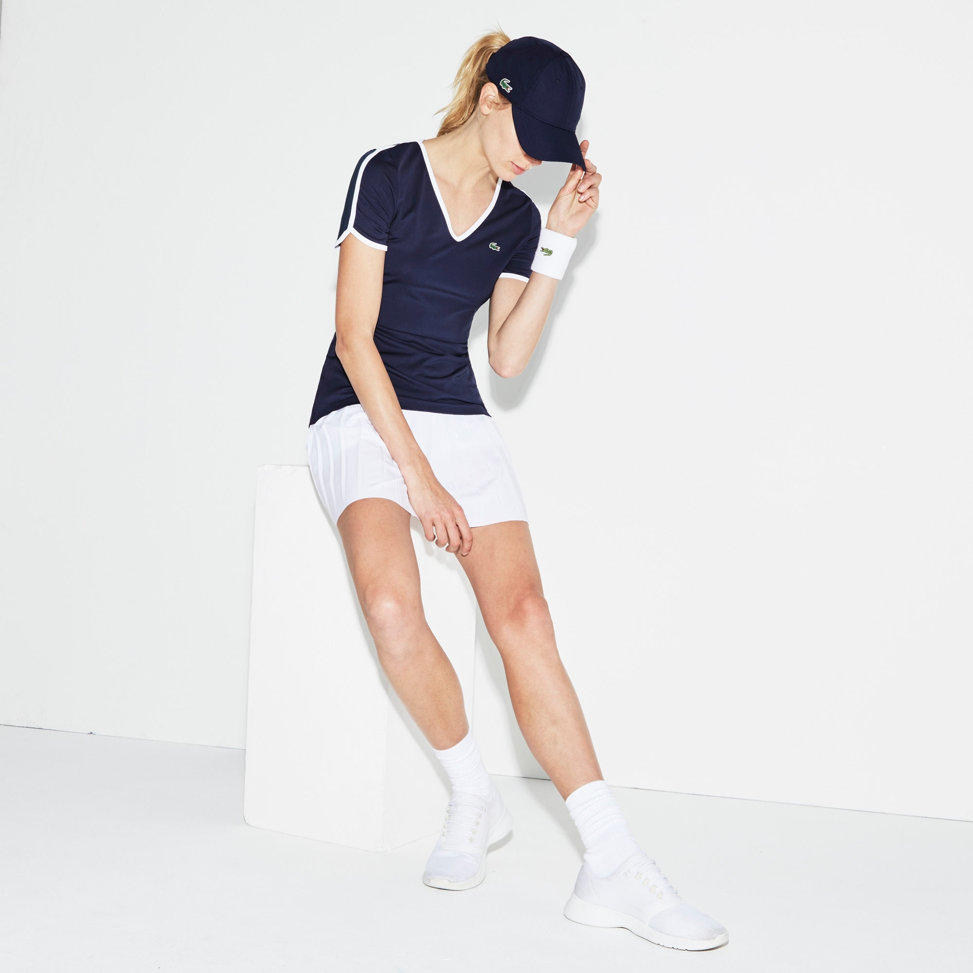 Camiseta Mujer Cuello Pico Tenis Lacoste Sport