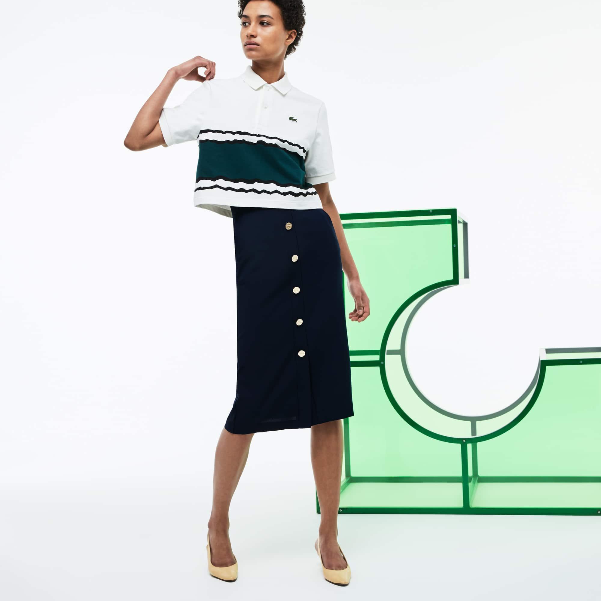 Falda de talle alto abotonada de crepé Edición Desfile