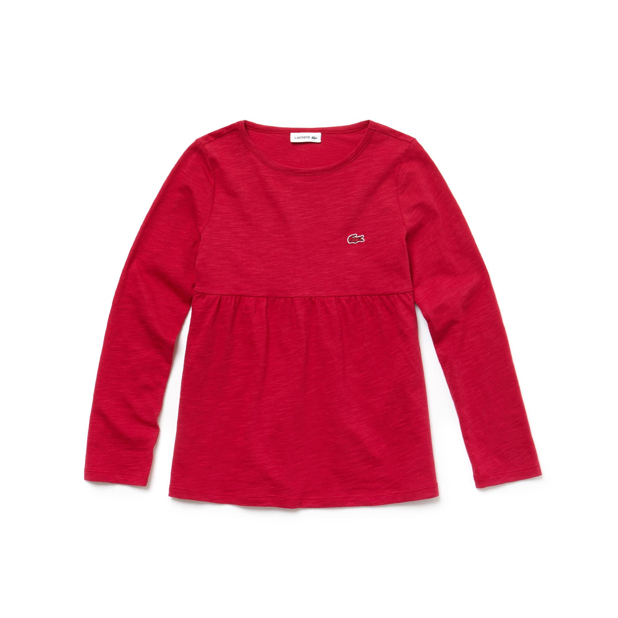Camiseta De Niña En Tejido De Punto De Algodón Con Cuello Redondo