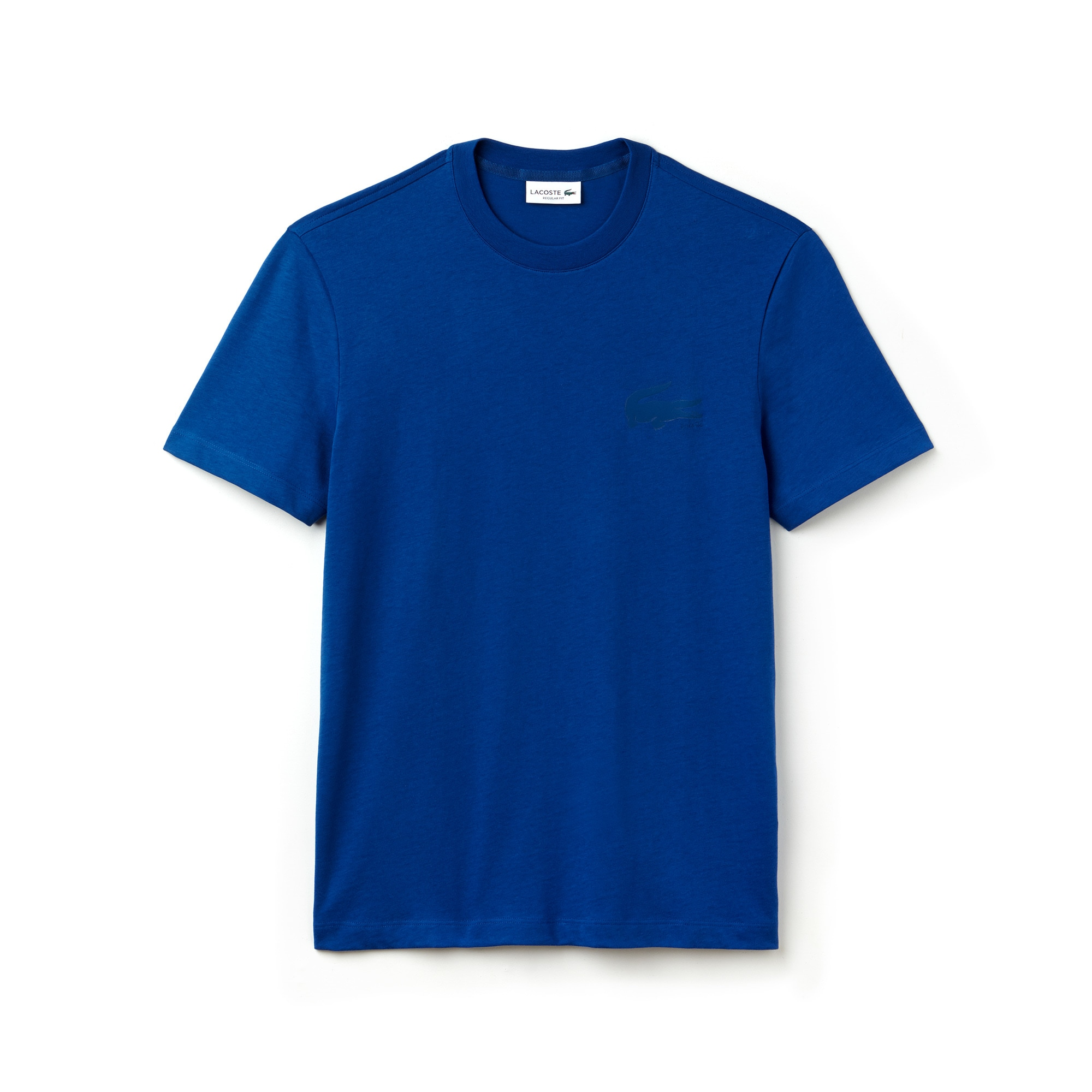 Camiseta De Cuello Redondo De Punto Liso De Algodón Liso Con Cocodrilo