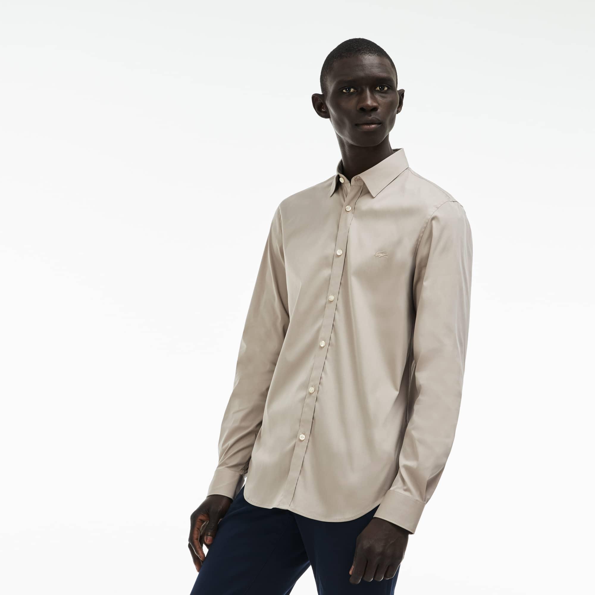 Camisa Slim Fit En Popelín Elástico