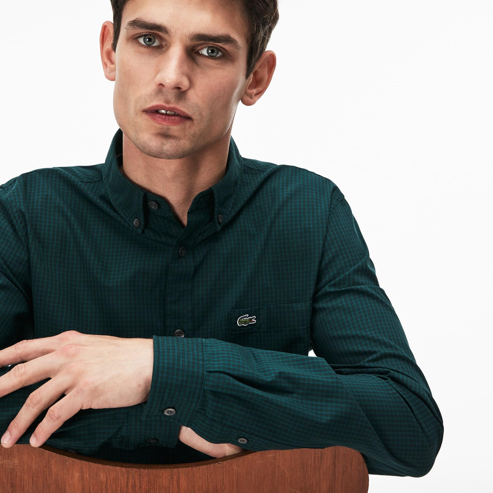 Camisa De Hombre Lacoste Motion Regular Fit En Popelín De Algodón De Cuadros