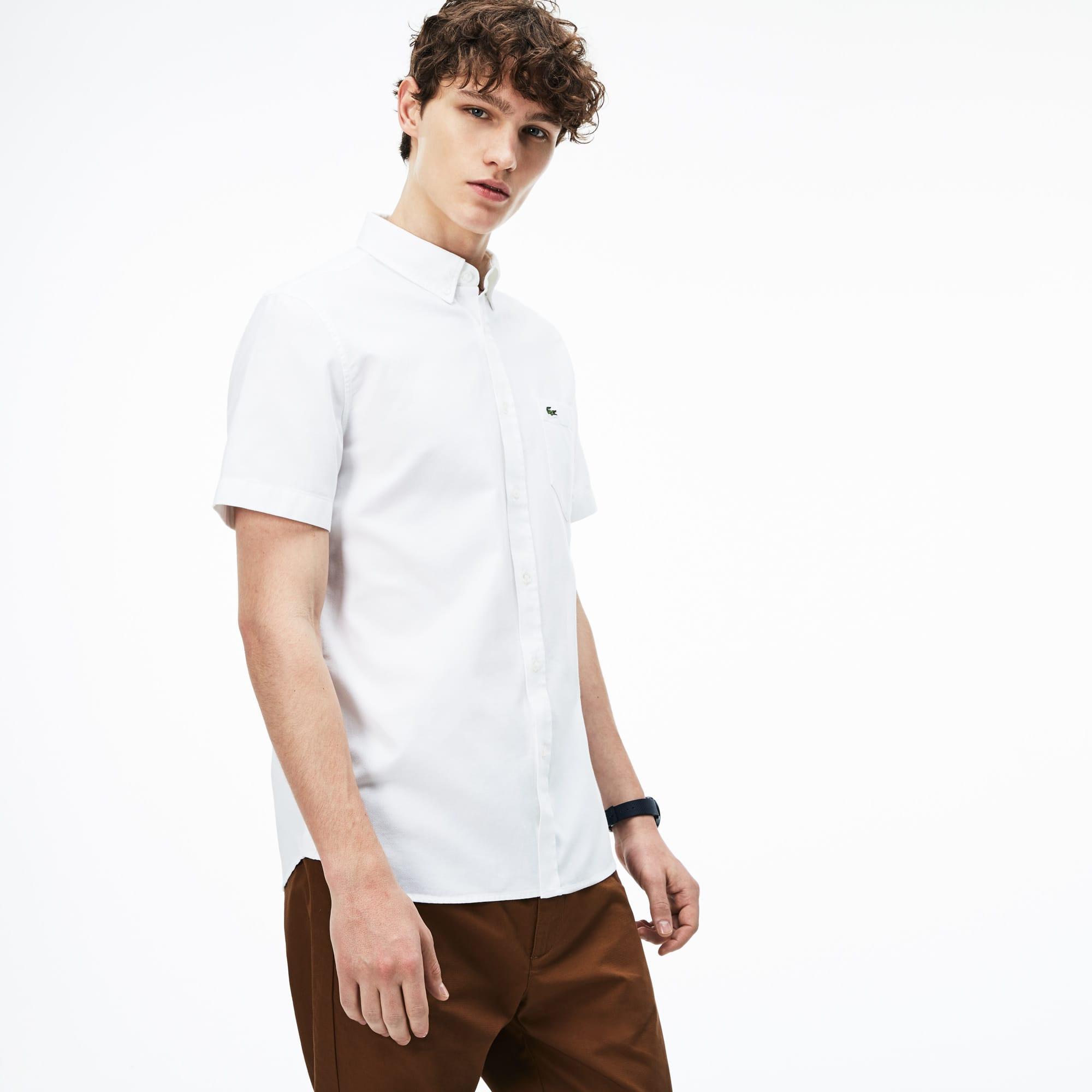Camisa regular fit de manga corta de piqué liso