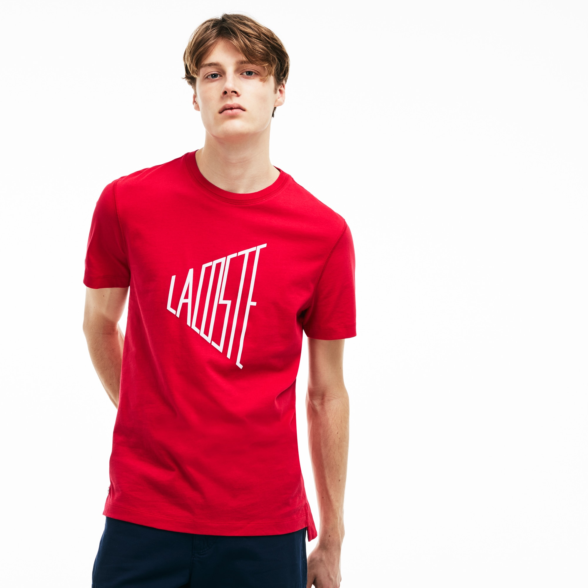Camiseta De Cuello Redondo De Punto Liso De Algodón Con Marca Lacoste