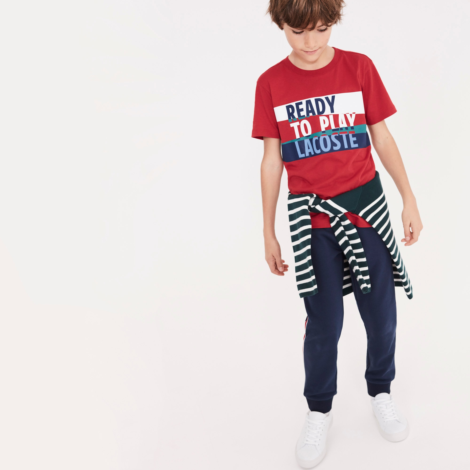 Lacoste - Camiseta De Niño En Tejido De Punto De Algodón Con Inscripción Ready To Play Y Cuello Redondo - 2