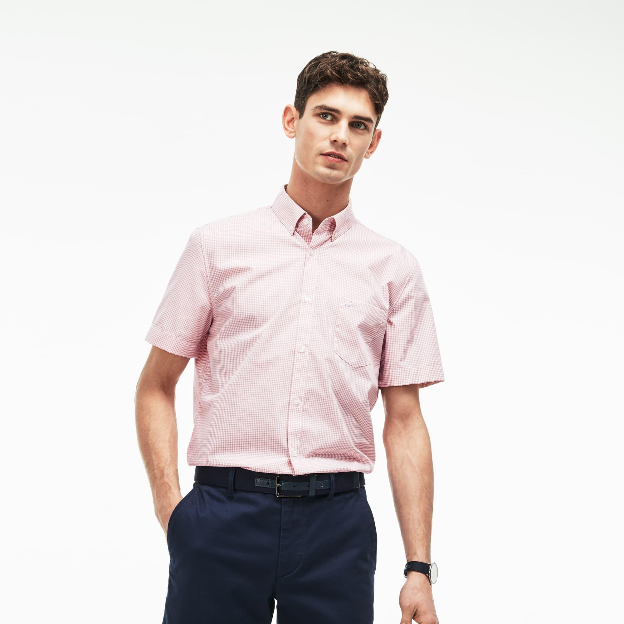 Camisa Hombre Regular Fit En Popelín De Cuadros Pequeños