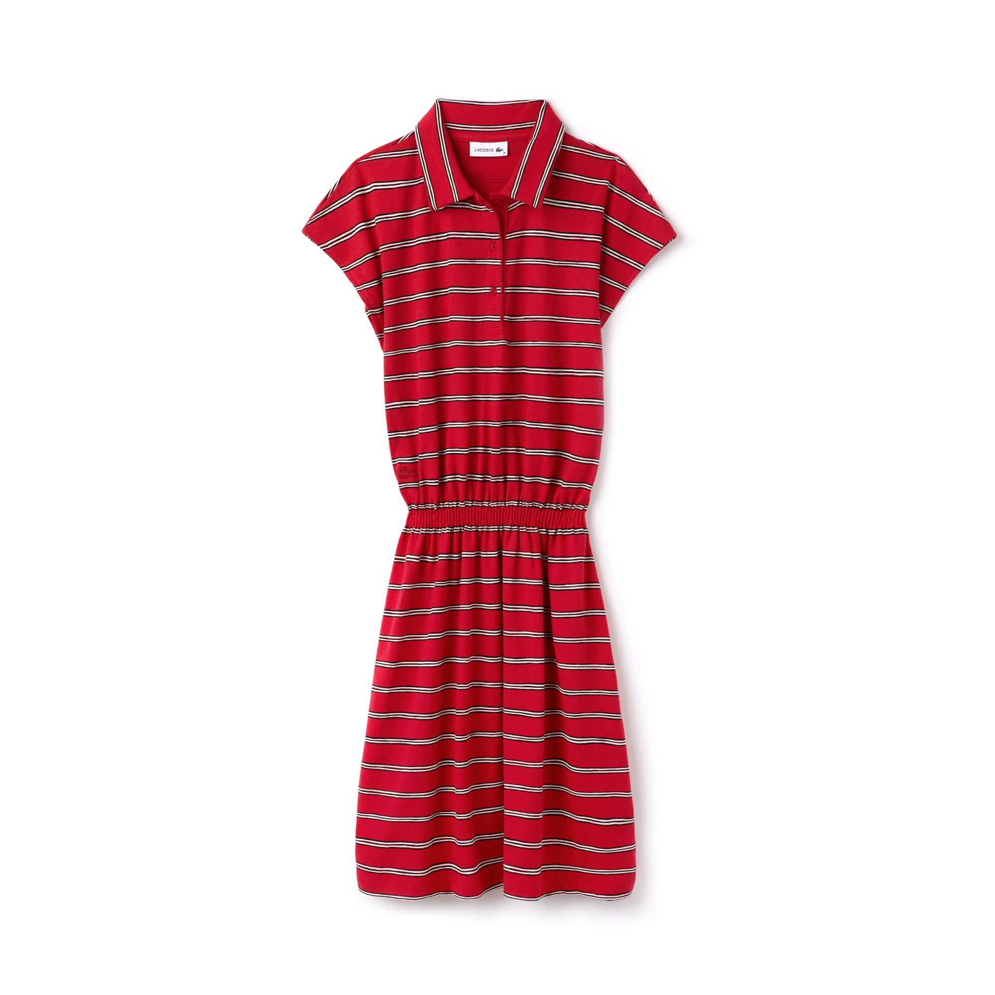 Vestido polo entallado Lacoste de punto jersey de algodón y lino de rayas