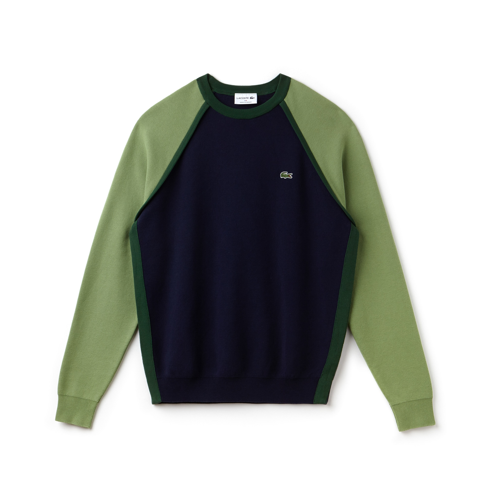 Jersey de cuello redondo Made in France en interlock de algodón y diseño color block
