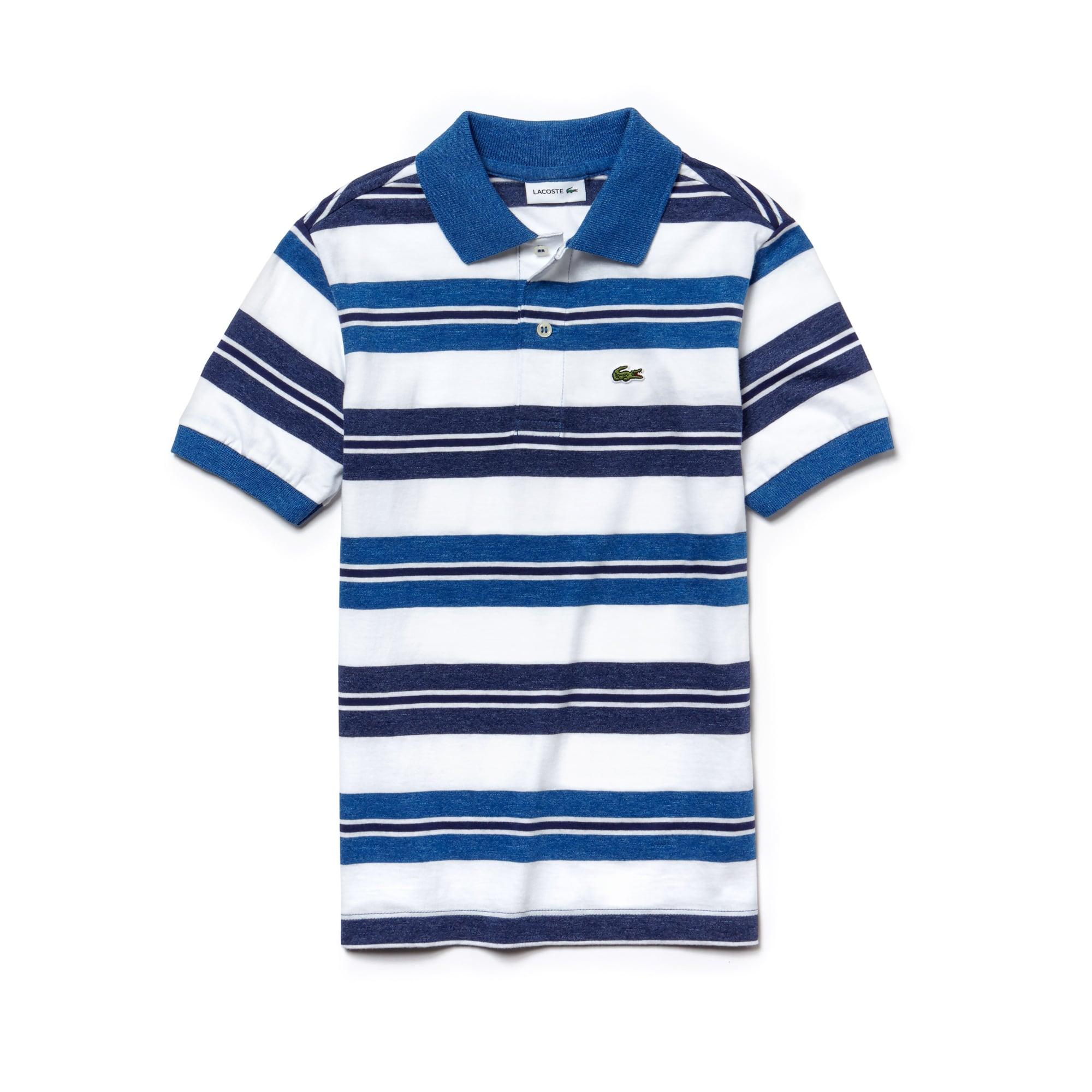 Polo de niño Lacoste de punto jersey de algodón de rayas