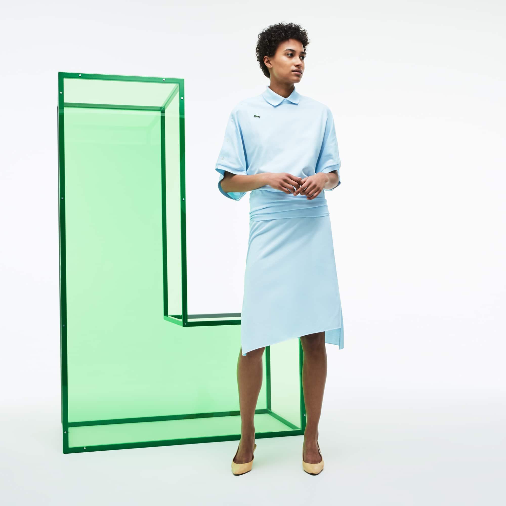 Falda asimétrica de piqué de algodón Edición Desfile