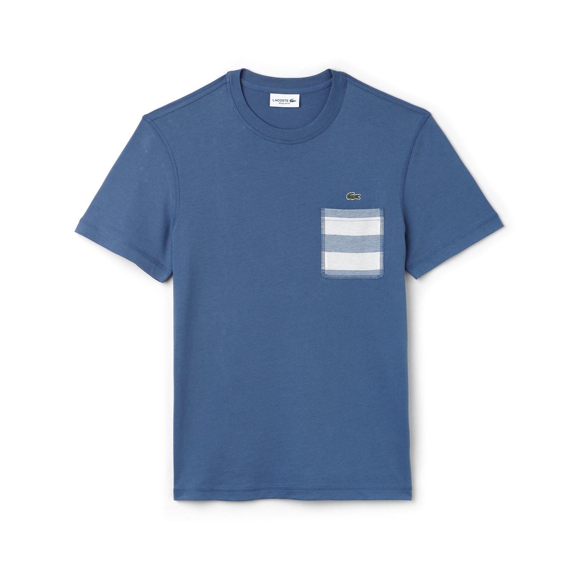 Camiseta Con Cuello Redondo De Punto Liso De Algodón Con Bolsillo De Rayas