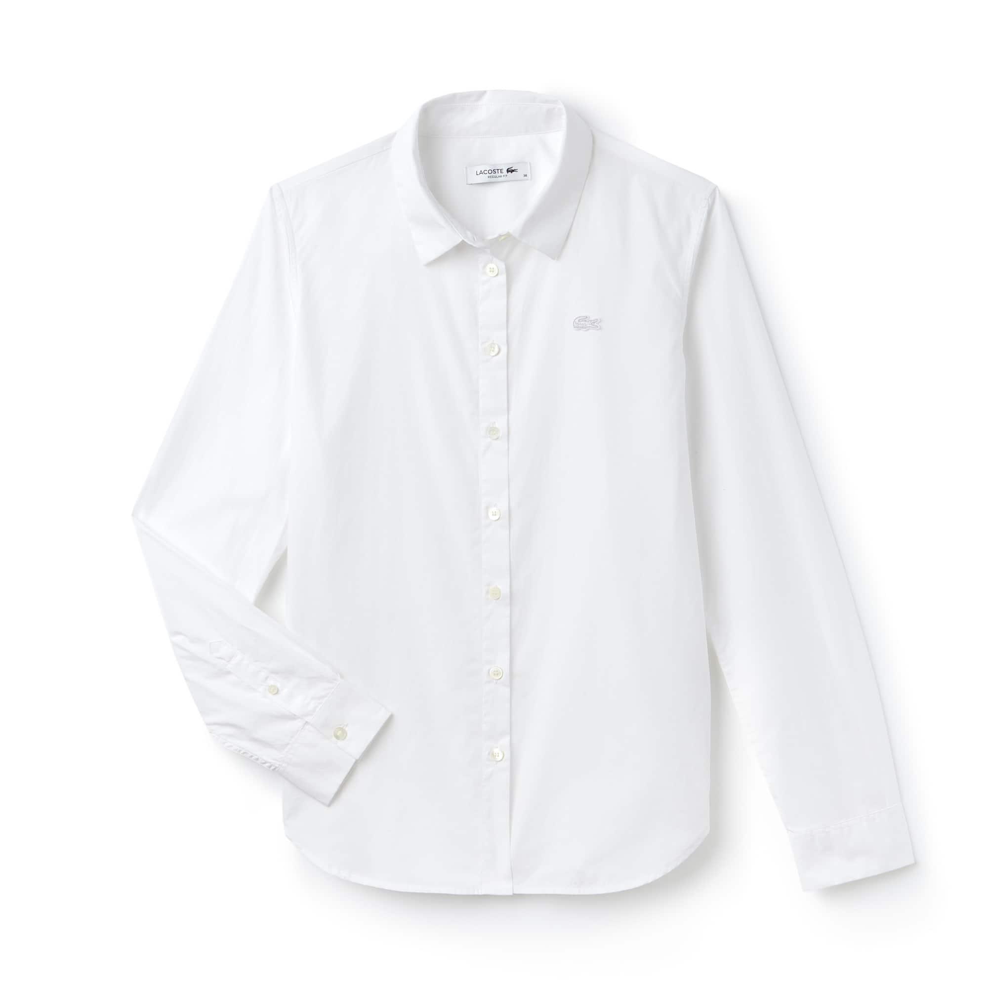 Camisa Regular Fit De Popelín De Algodón Liso
