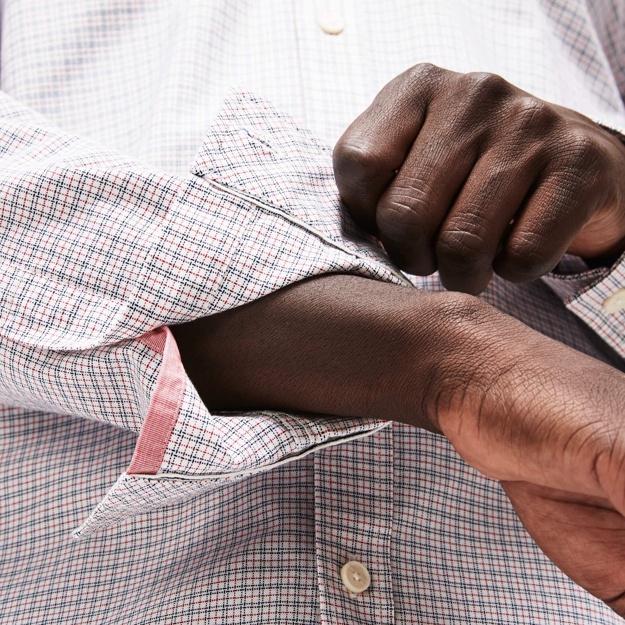 Lacoste - Camisa De Hombre Slim Fit En Algodón Oxford Elástico De Cuadros - 7