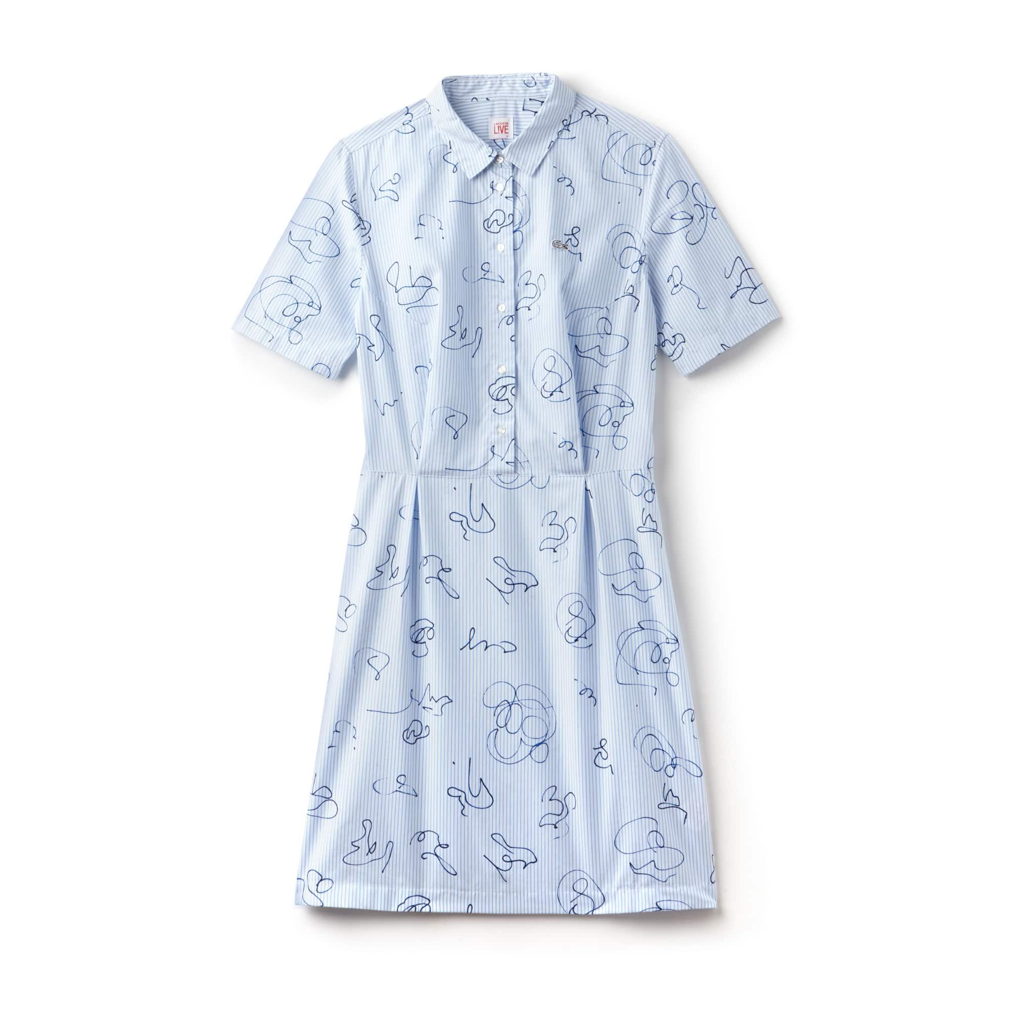 Vestido camisero Lacoste LIVE de popelín de algodón a rayas
