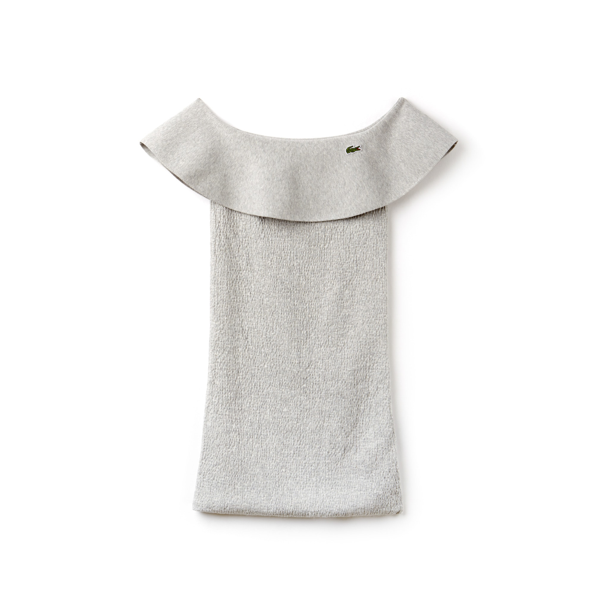 Vestido palabra de honor con volantes de punto de algodón Edición Desfile