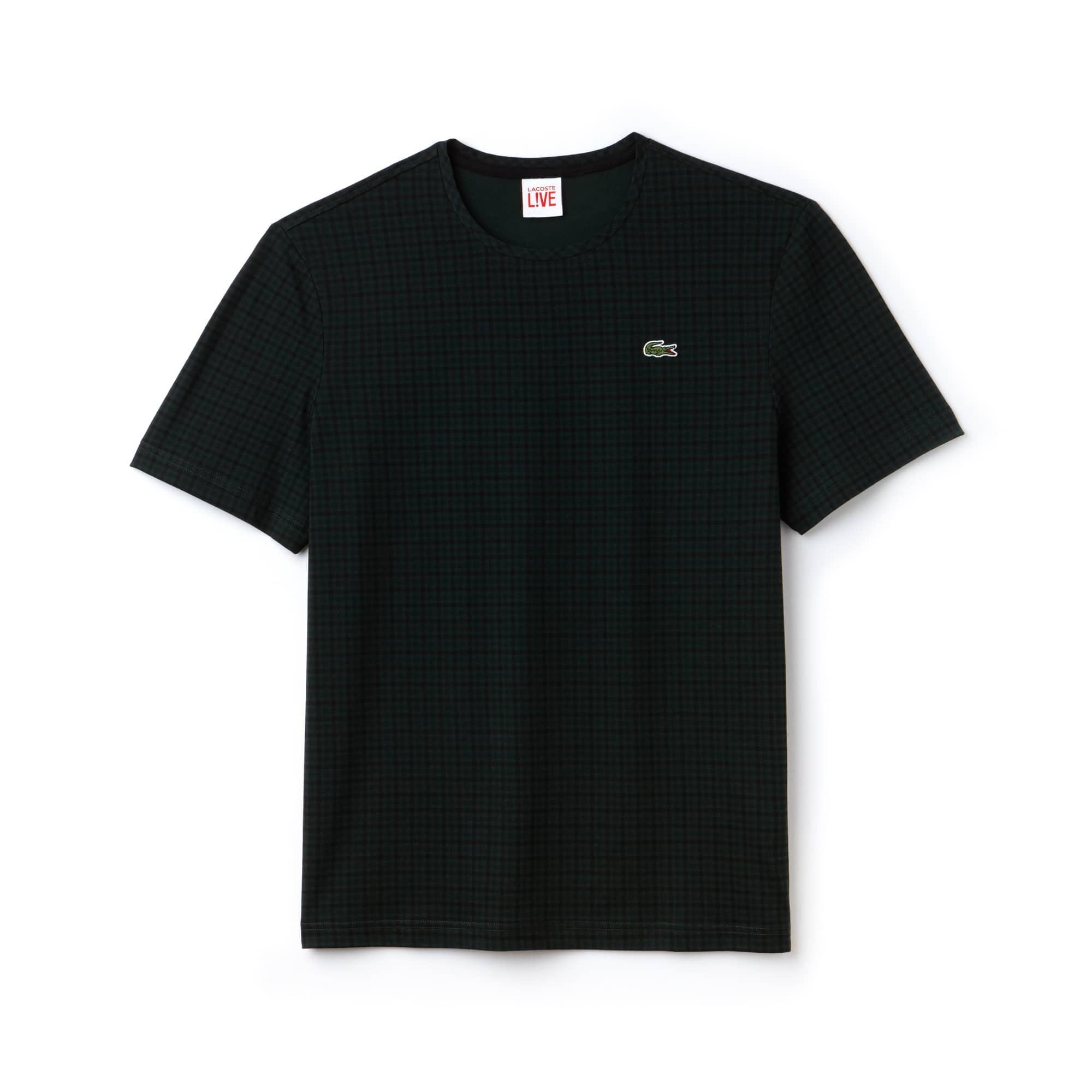 Camiseta De Hombre Lacoste LIVE En Tejido De Punto De Algodón Con Estampado De Cuadros Y Cuello Redondo