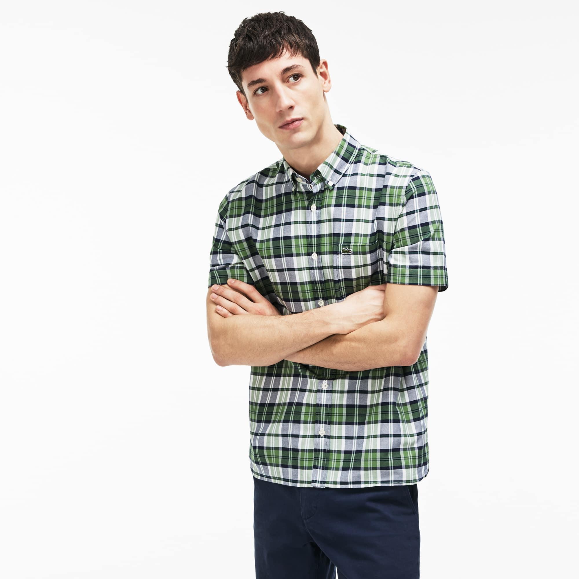 Camisa regular fit de manga corta de algodón Oxford de cuadros de colores