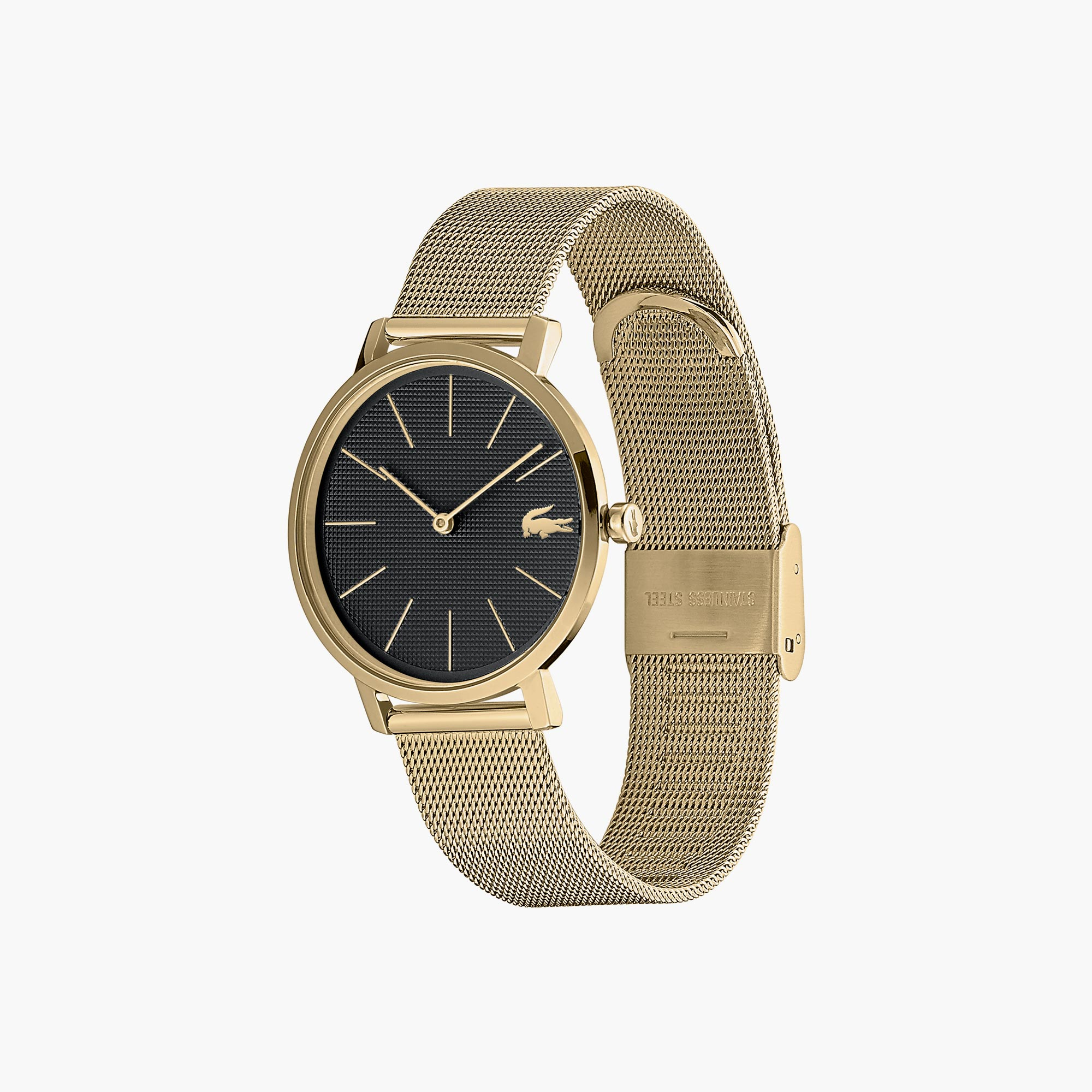 Ladies Moon Watch with Stainless Steel Yellow Gold Ip Plated Mesh Band