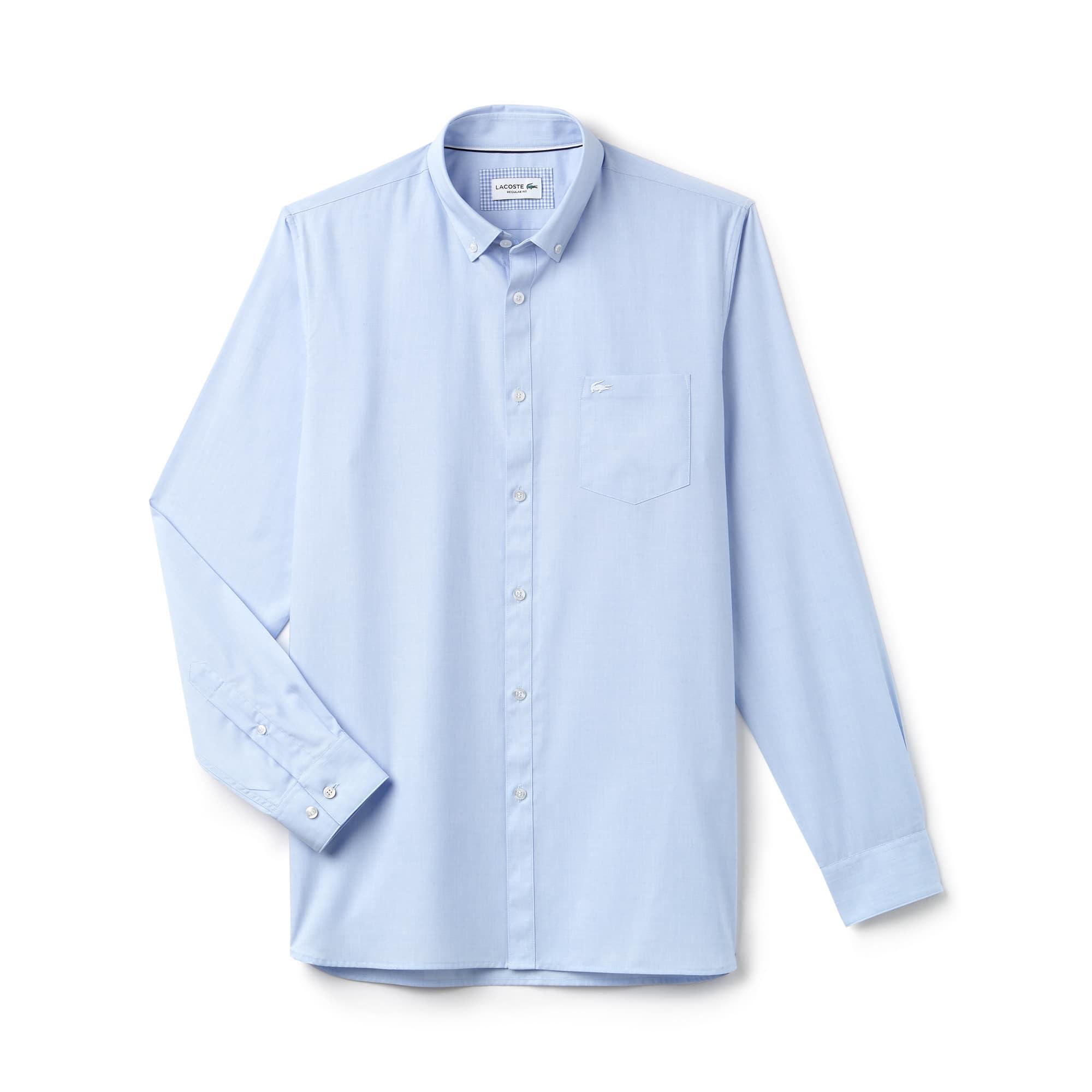 Camisa regular fit de hilo a hilo de algodón liso