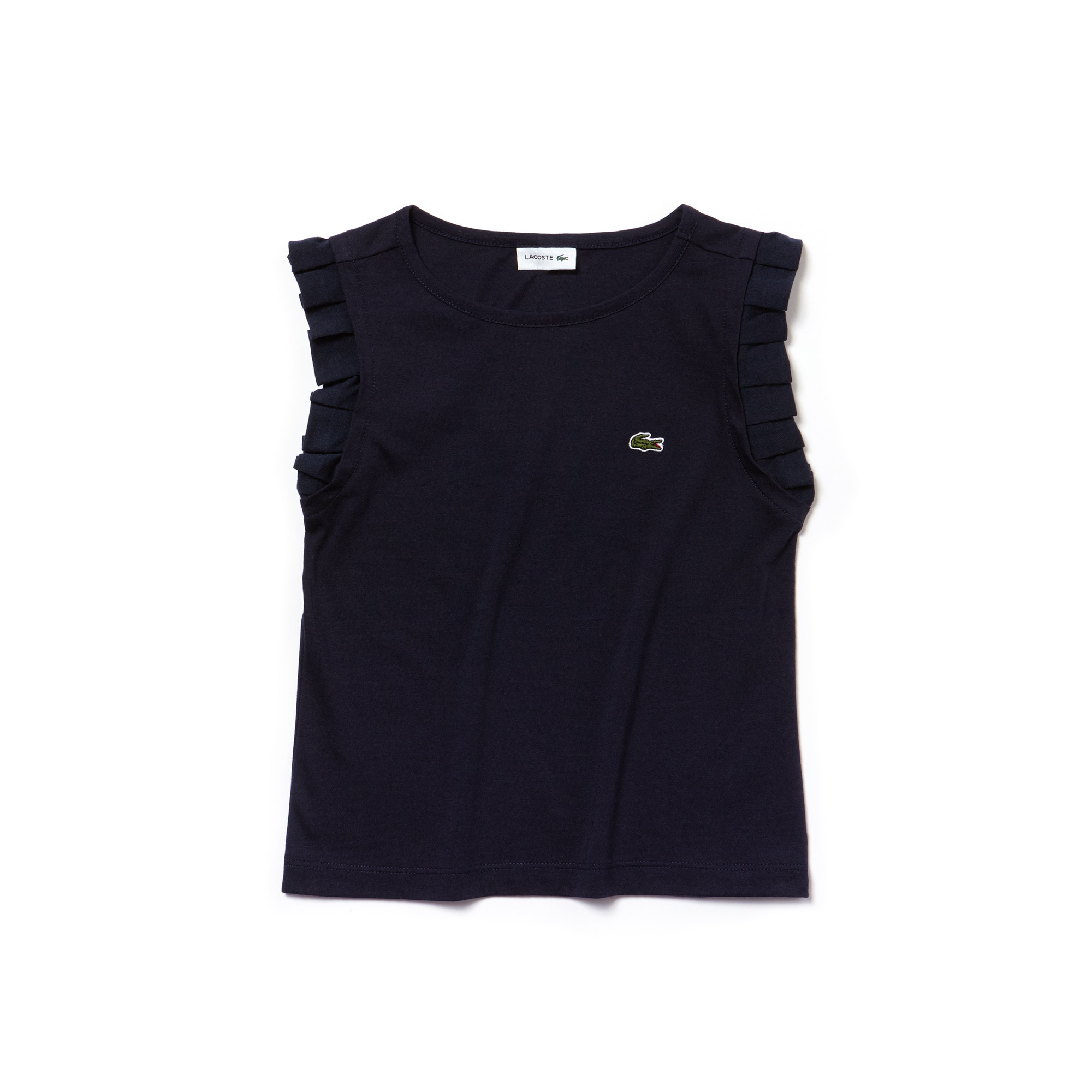 Camiseta Niña Con Cuello Redondo De Punto Liso Con Volantes En Los Hombros