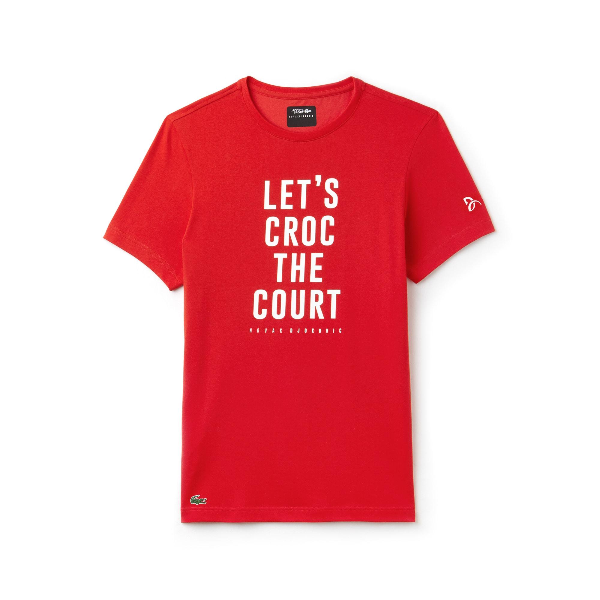 Camiseta De Hombre Lacoste SPORT Novak Djokovic Support With Style -Off Court Collection En Tejido De Punto Técnico Con Inscripción Y Cuello Redondo