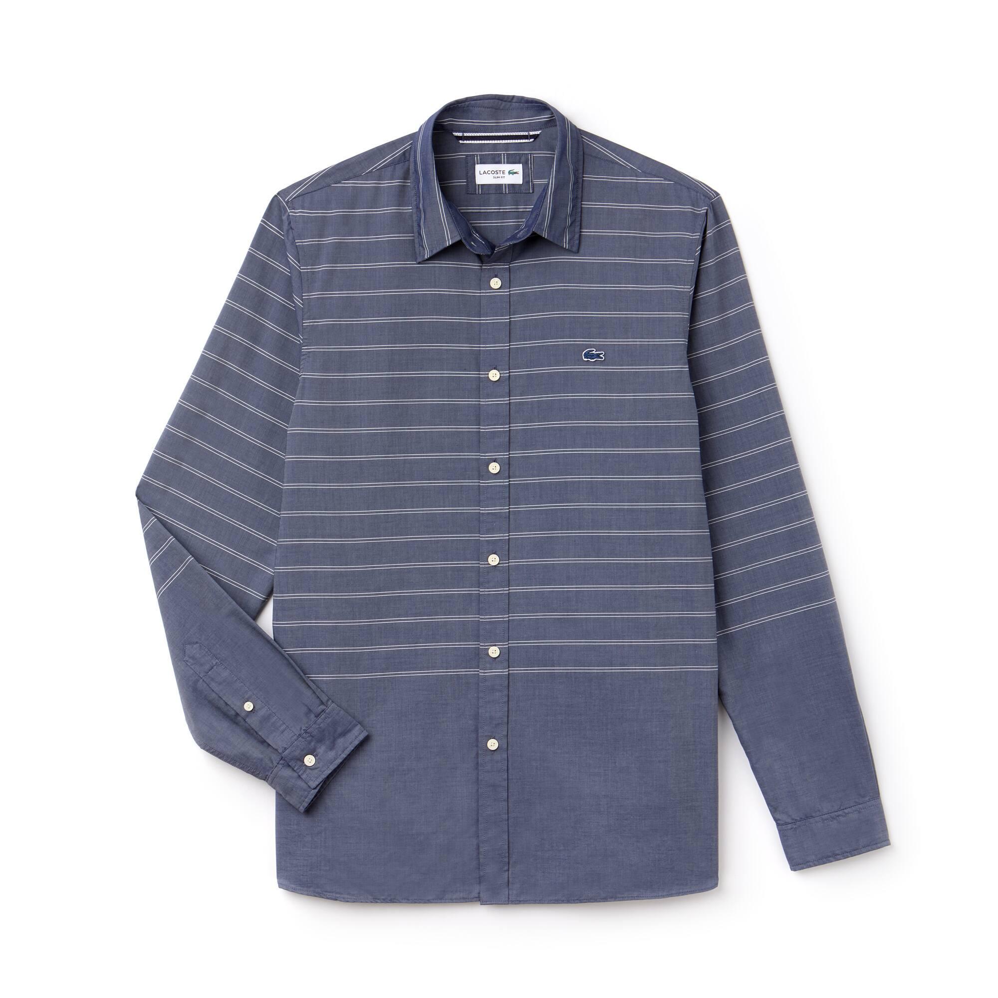 Camisa de hombre slim fit en popelín de rayas