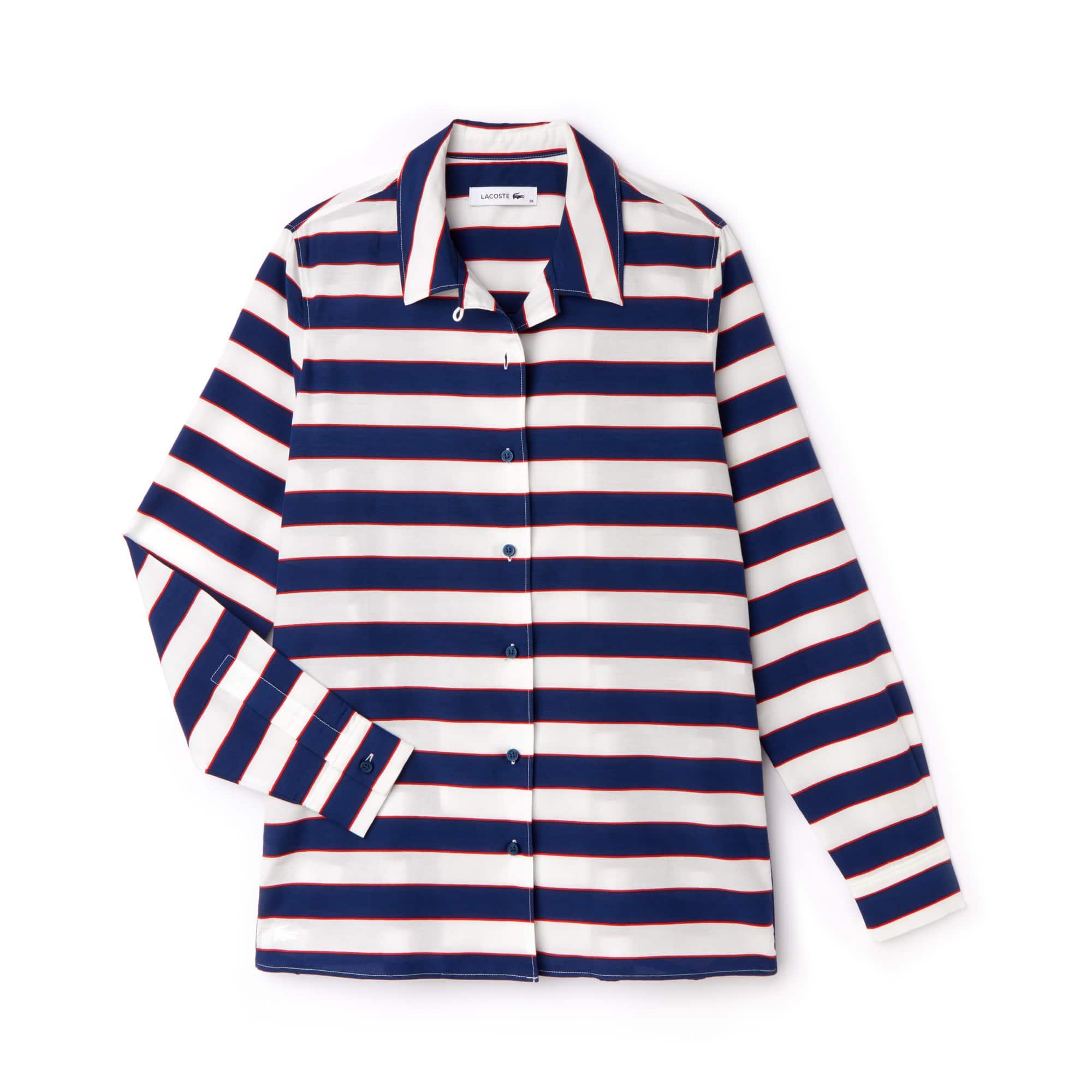 Camisa De Mujer Regular Fit En Seda Y Voile De Algodón De Rayas