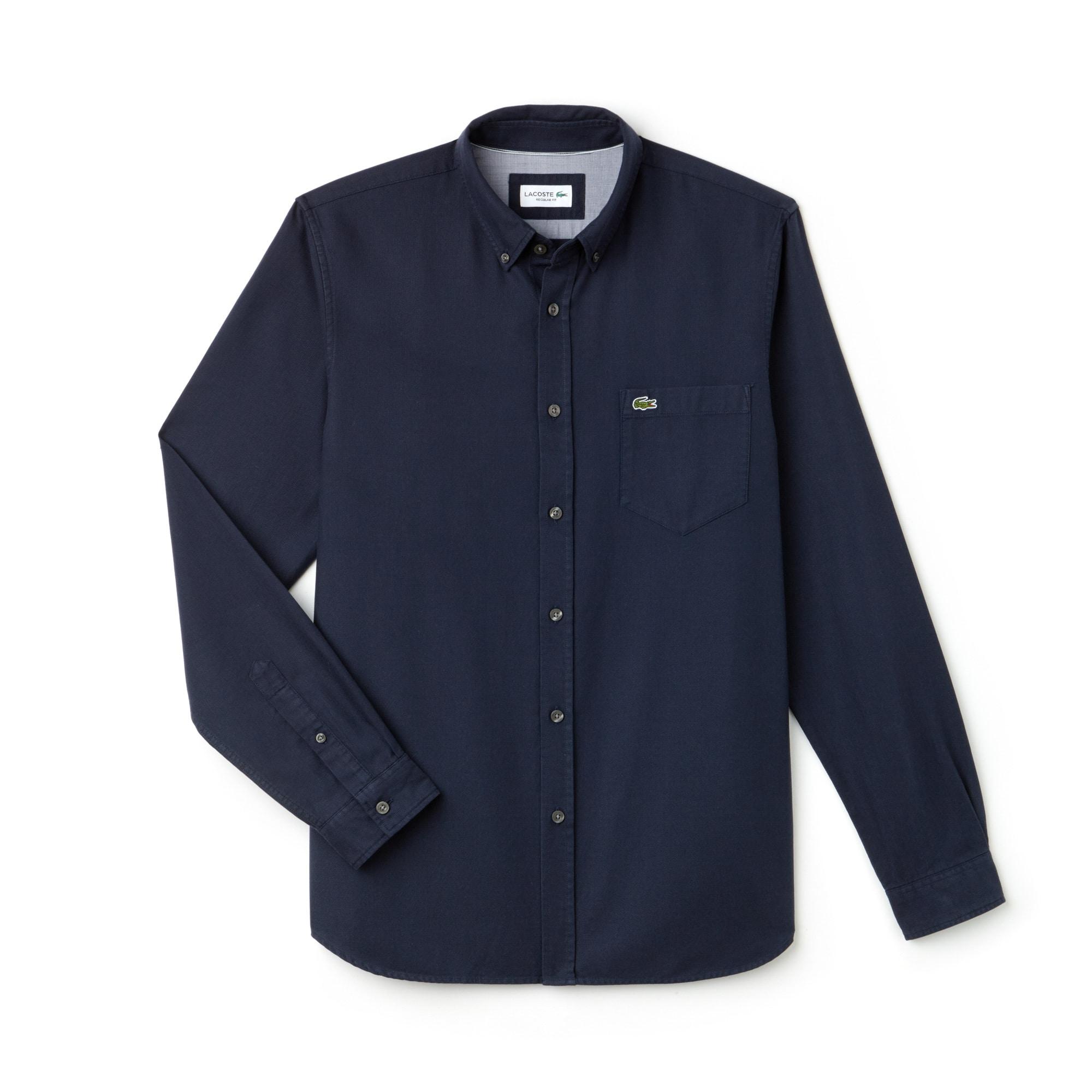 Camisa Regular Fit De Piqué De Algodón Liso