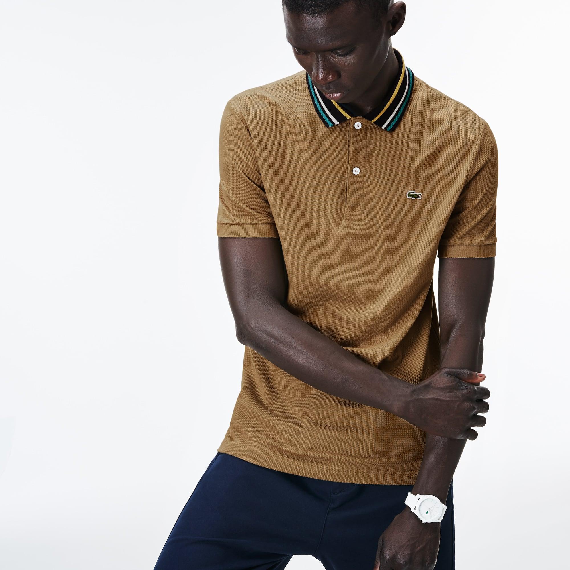 Lacoste - Polo De Hombre Lacoste Slim Fit En Petit Piqué Con Cuello A Contraste De Rayas - 4