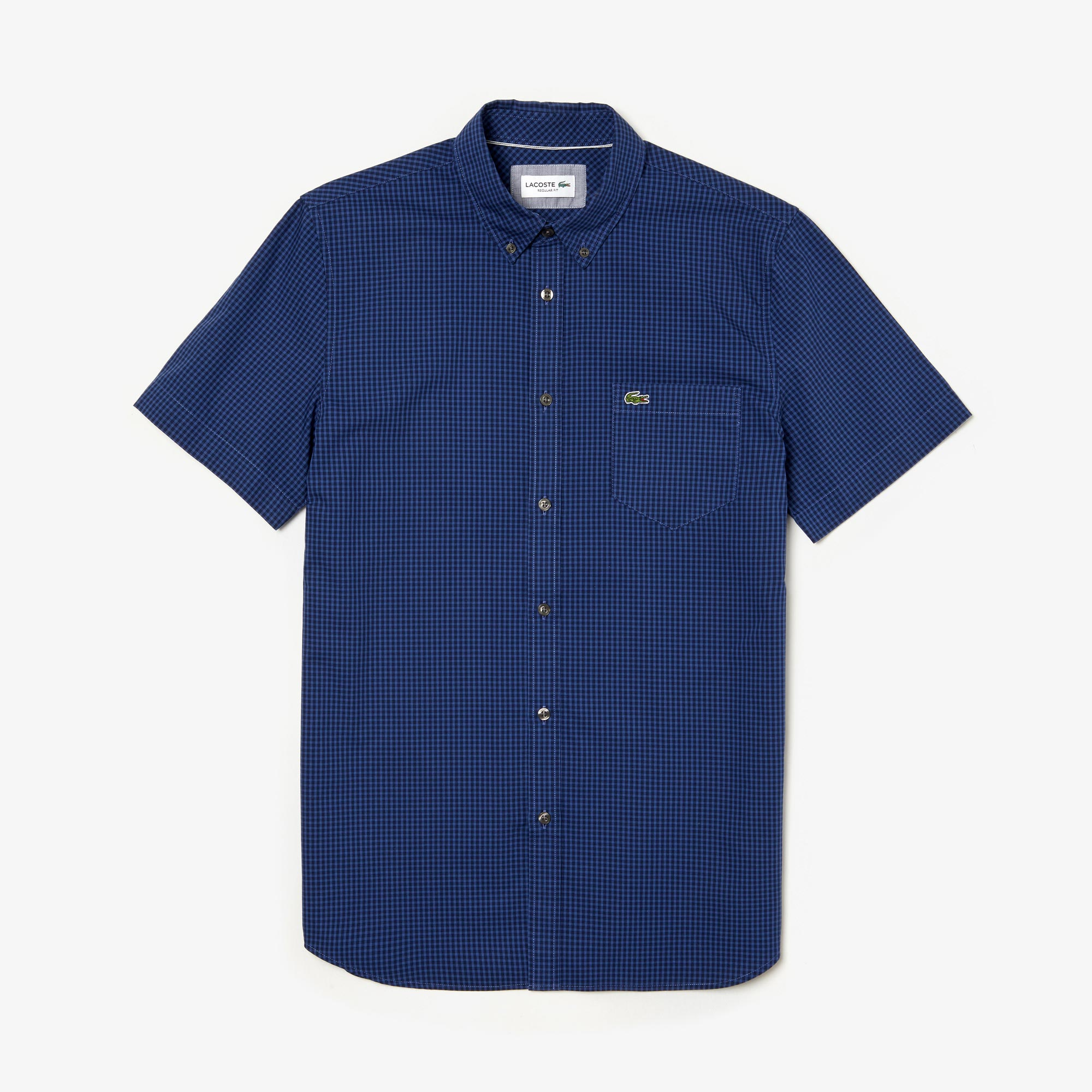Camisa De Hombre Regular Fit De Popelina A Cuadros Pequeños