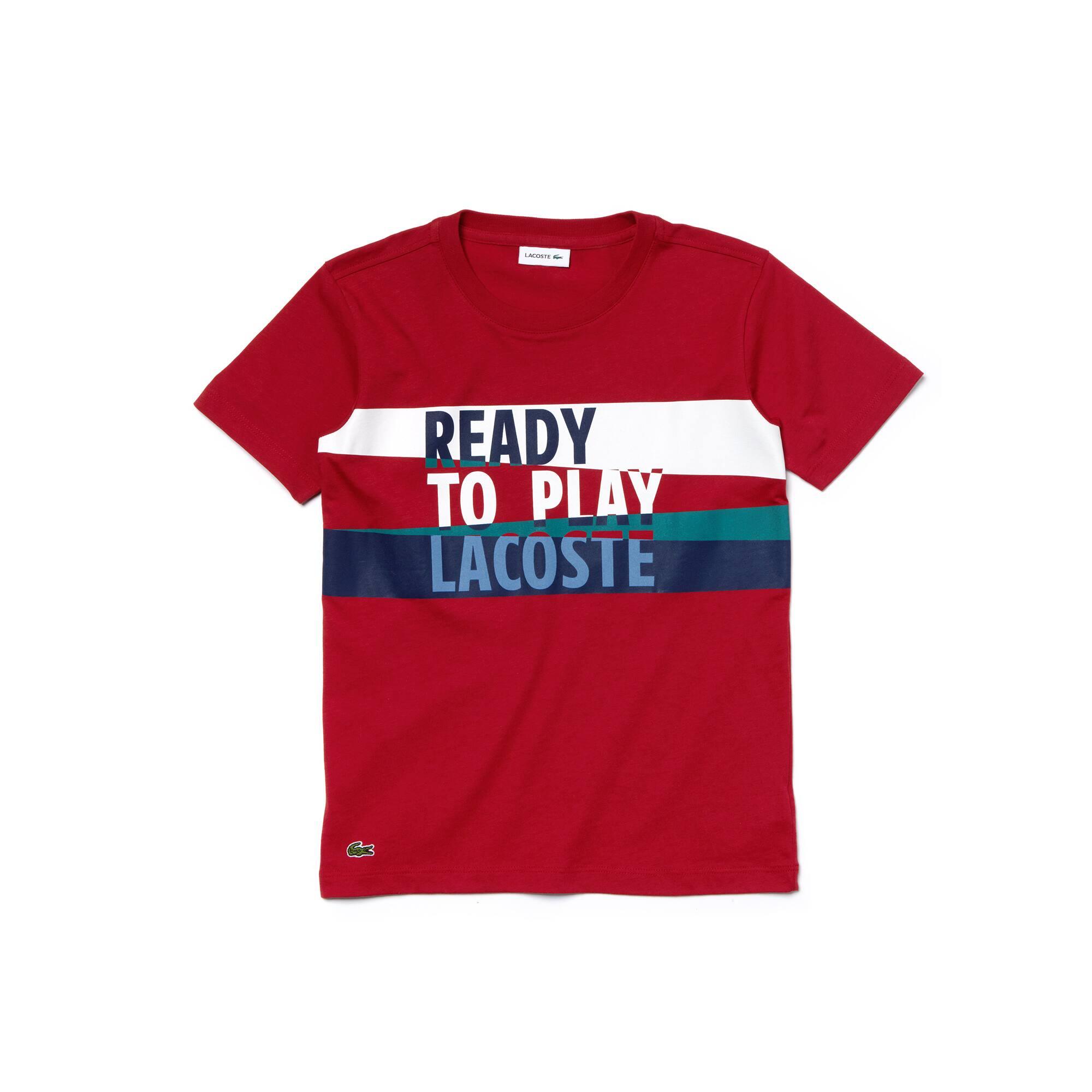 Lacoste - Camiseta De Niño En Tejido De Punto De Algodón Con Inscripción Ready To Play Y Cuello Redondo - 3