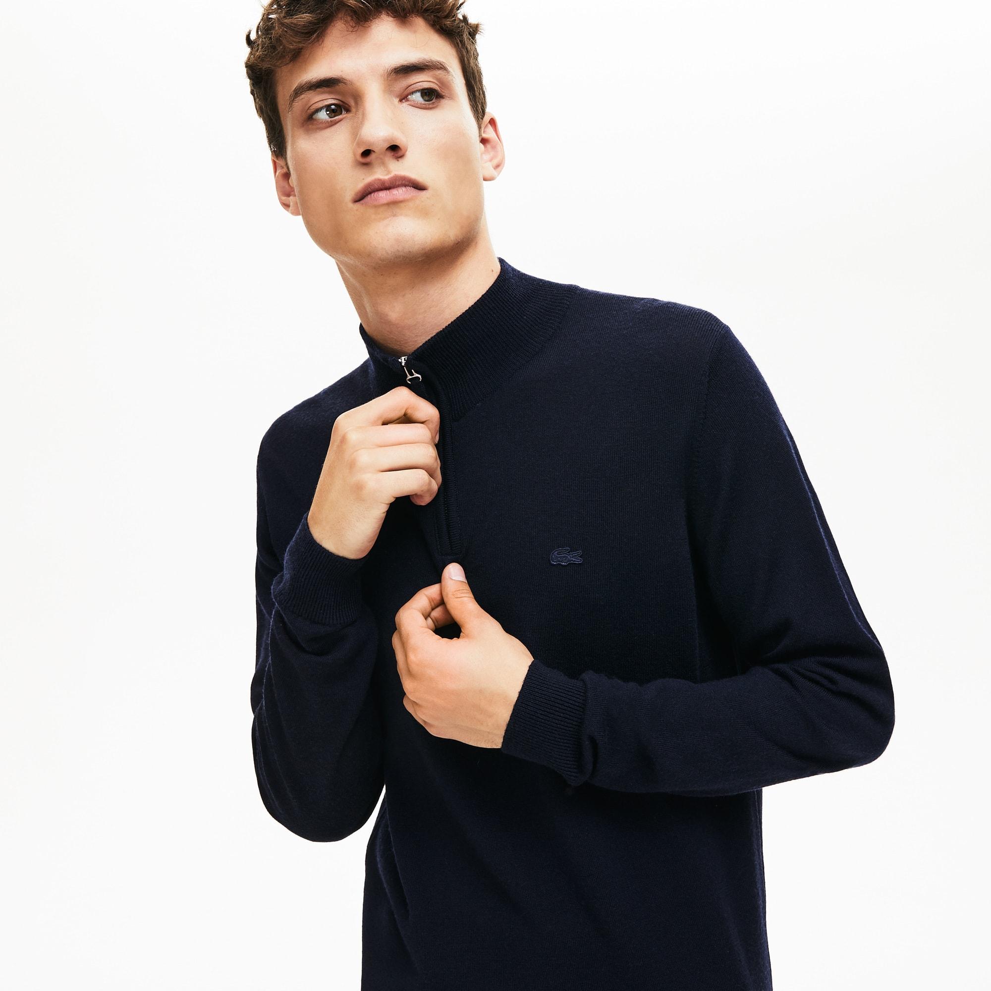 Jersey de hombre en tejido de punto de lana y cuello alto con cremallera